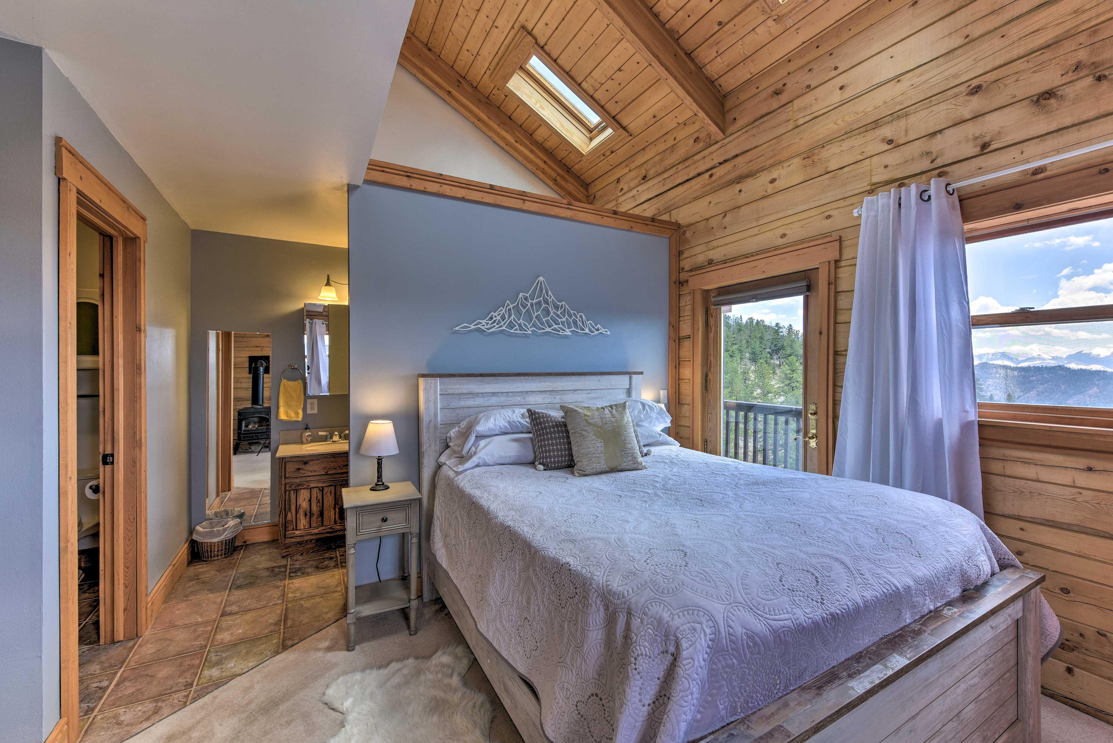 Wake up to beautiful views through the room's large windows.