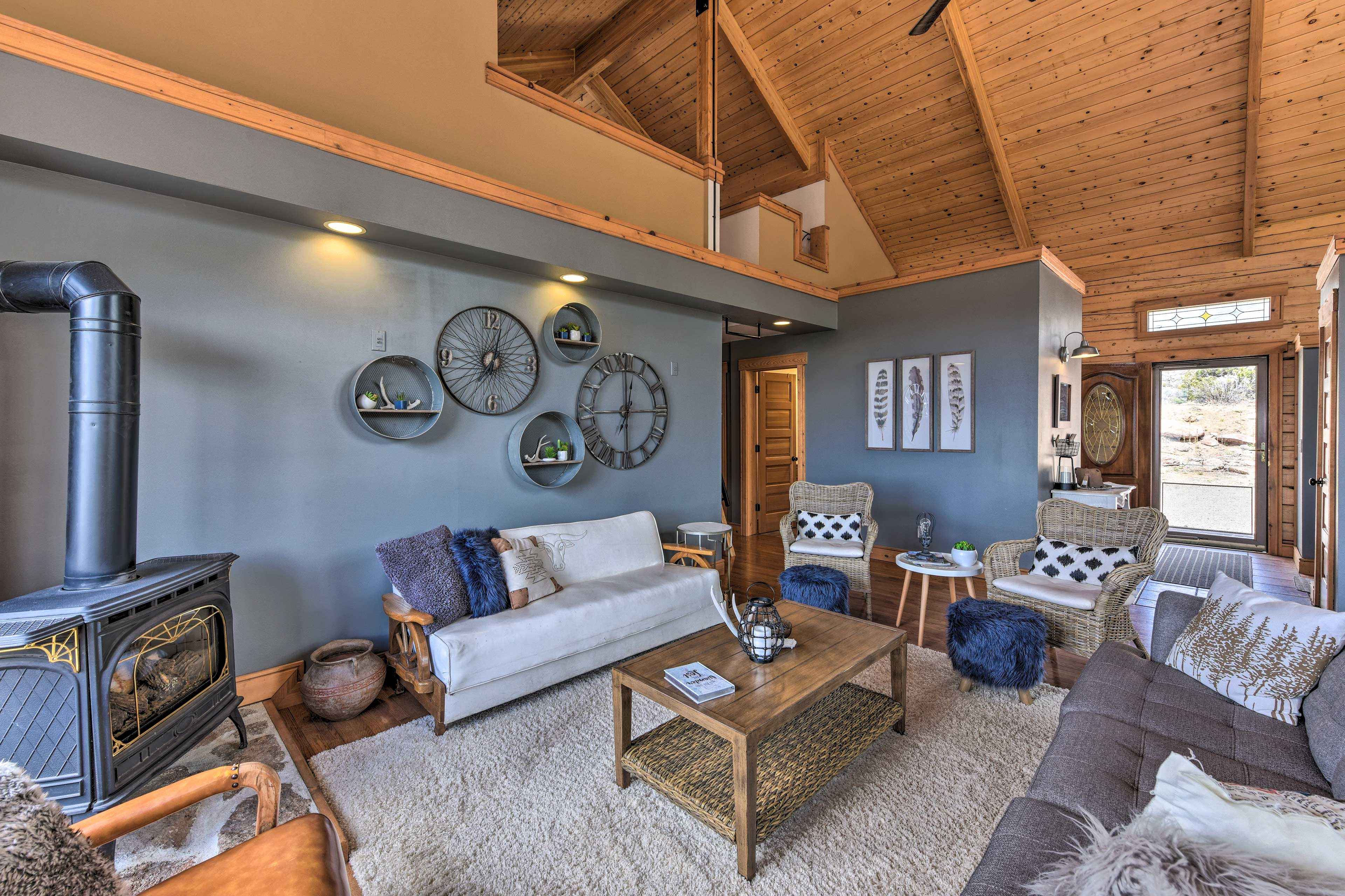 With exposed beam cathedral ceilings, this cabin is incredibly spacious.