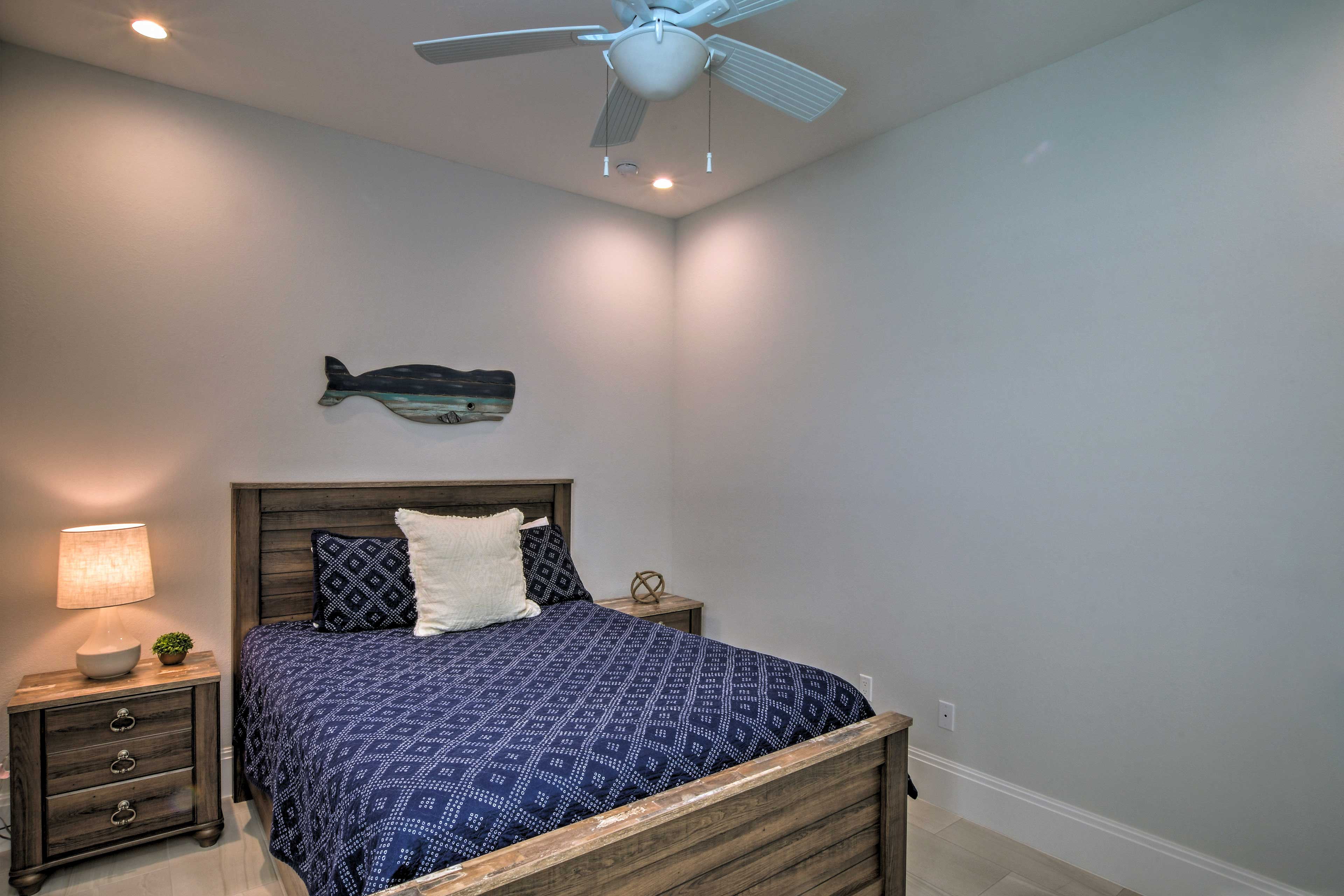 You're sure to sleep easily beneath the cooling ceiling fan.