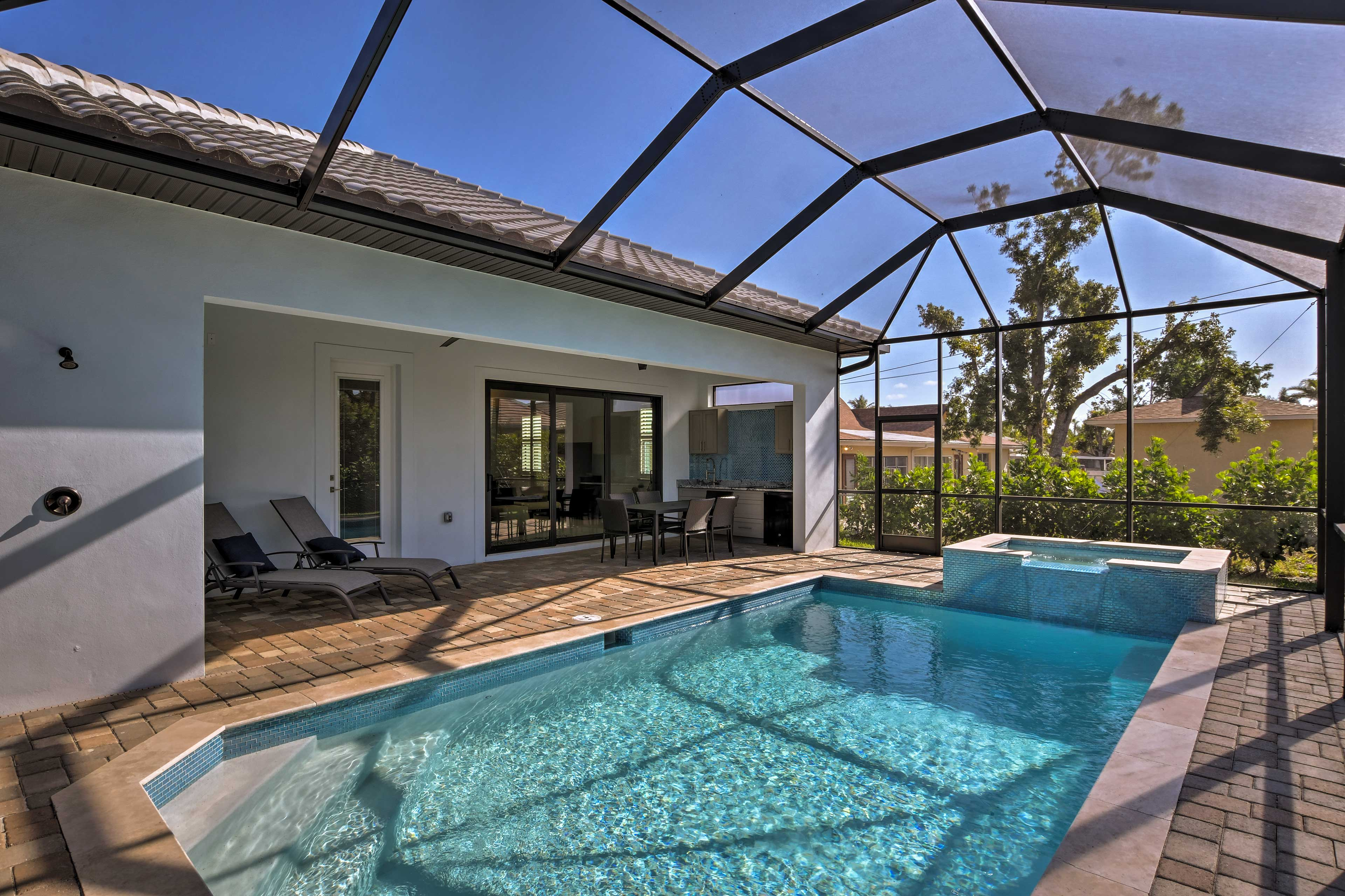 Beat the Florida heat by splashing around in the private pool!