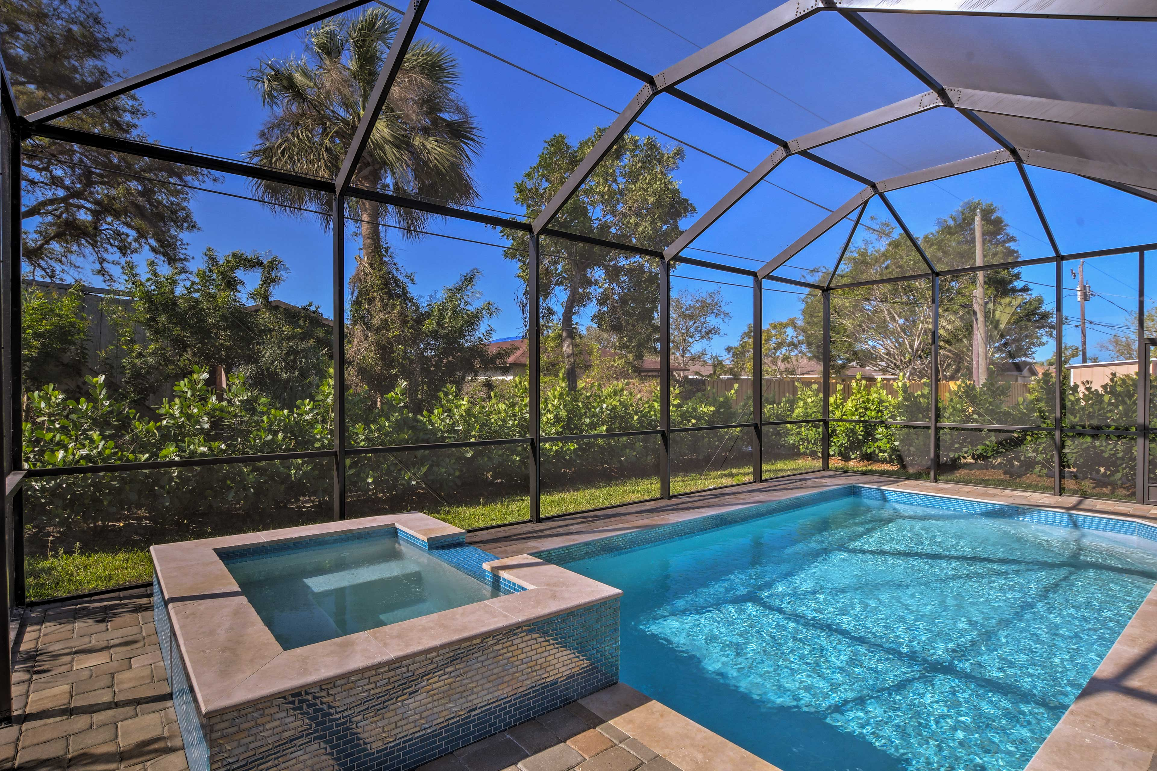 The pool and spa can be heated for no additional fee.