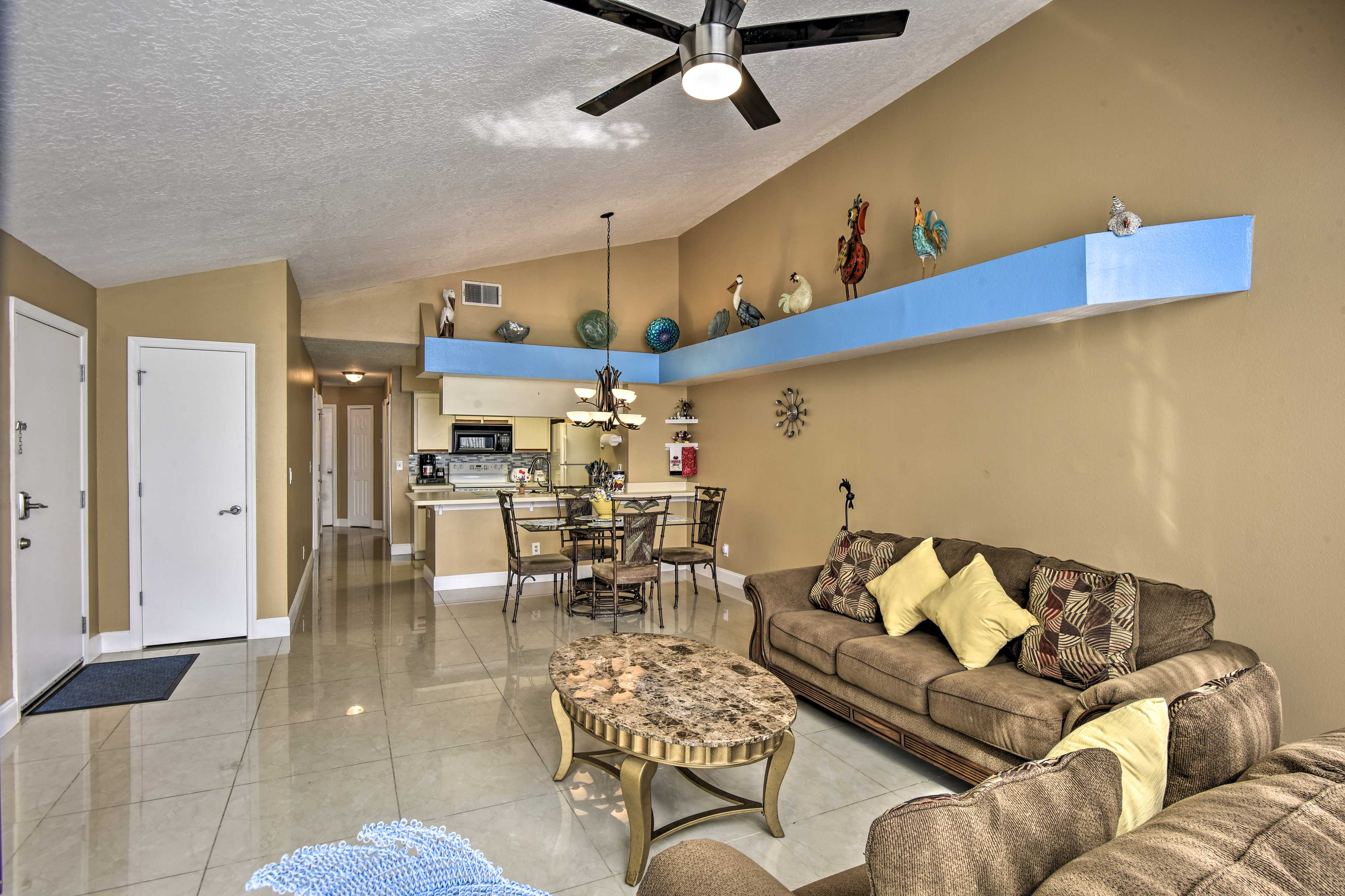 The open concept layout is spacious and inviting.