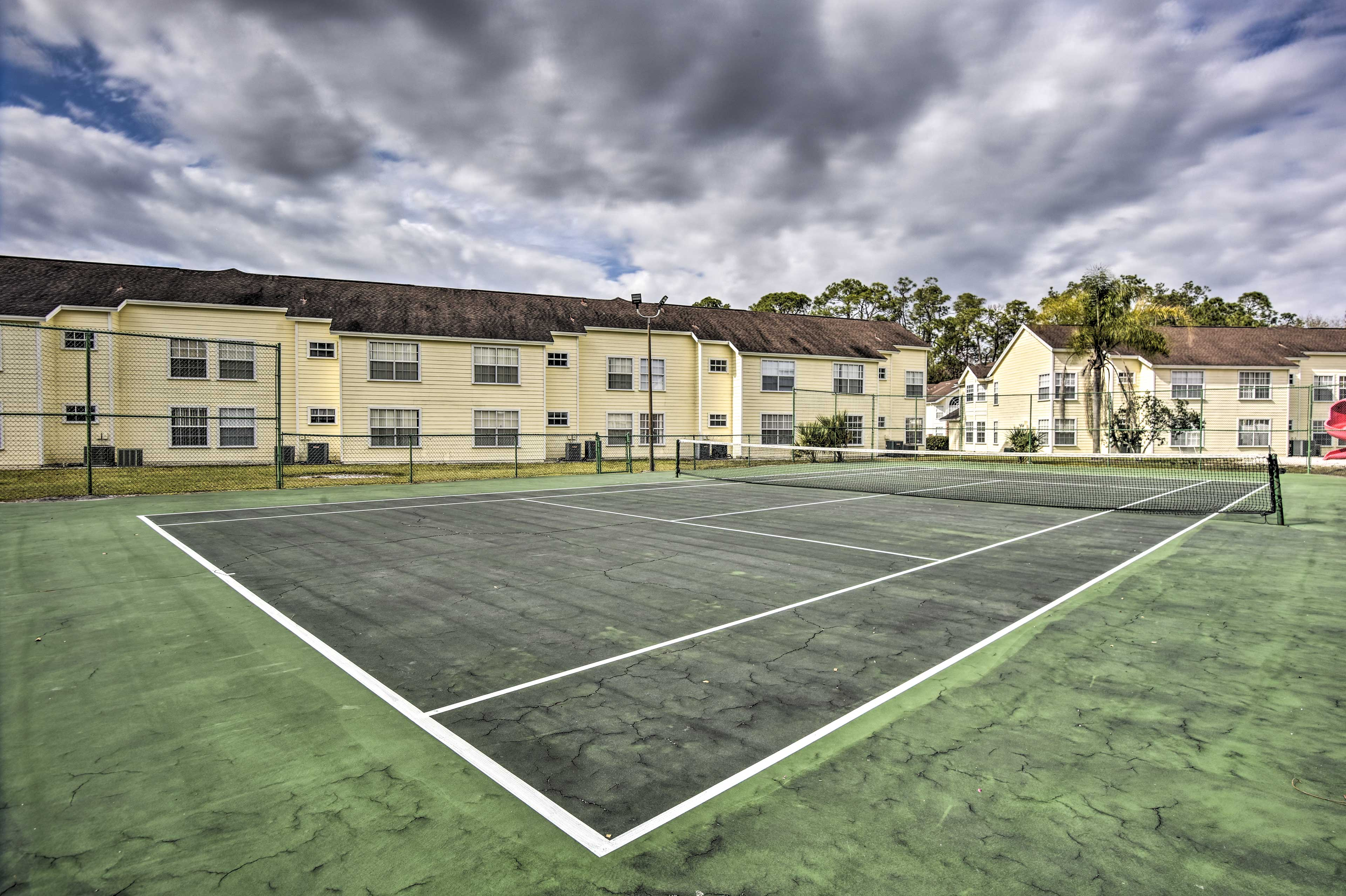 On-site amenities for 6 include a pool, tennis court and playground!