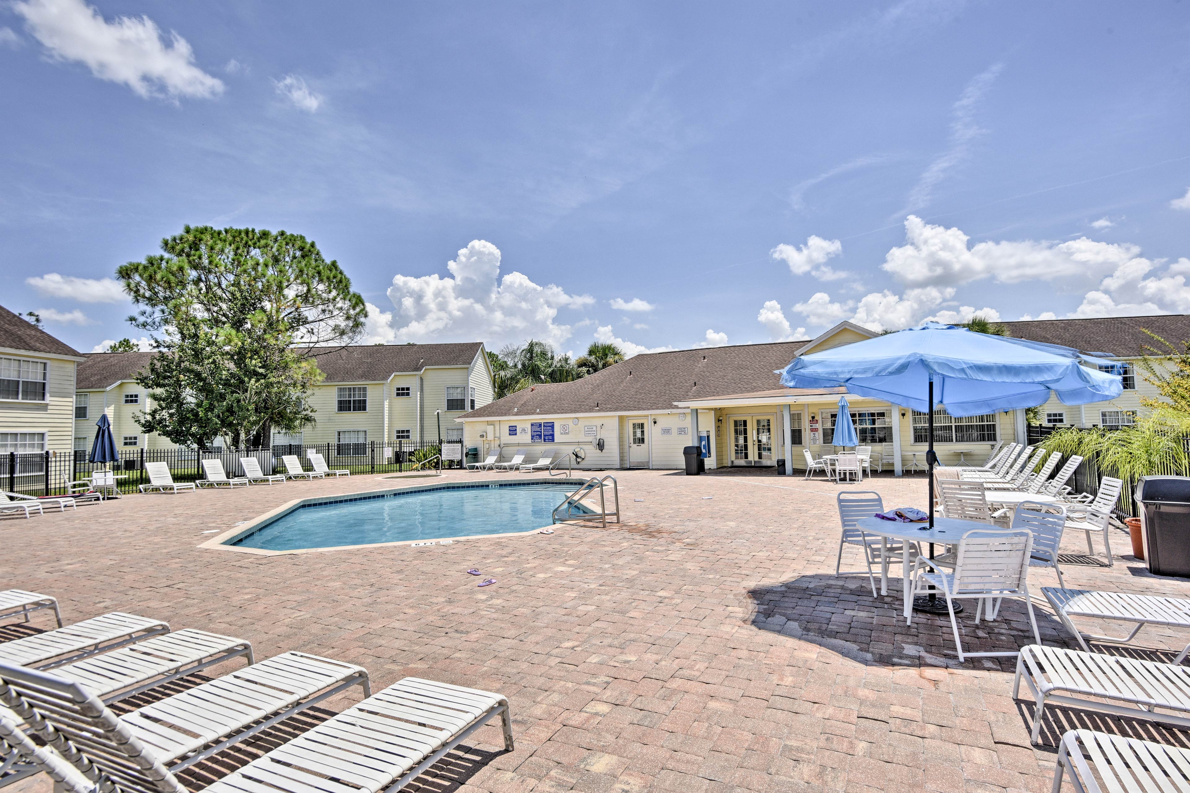 Enjoy access to a community pool during your stay at the 3BR, 2-bath unit.