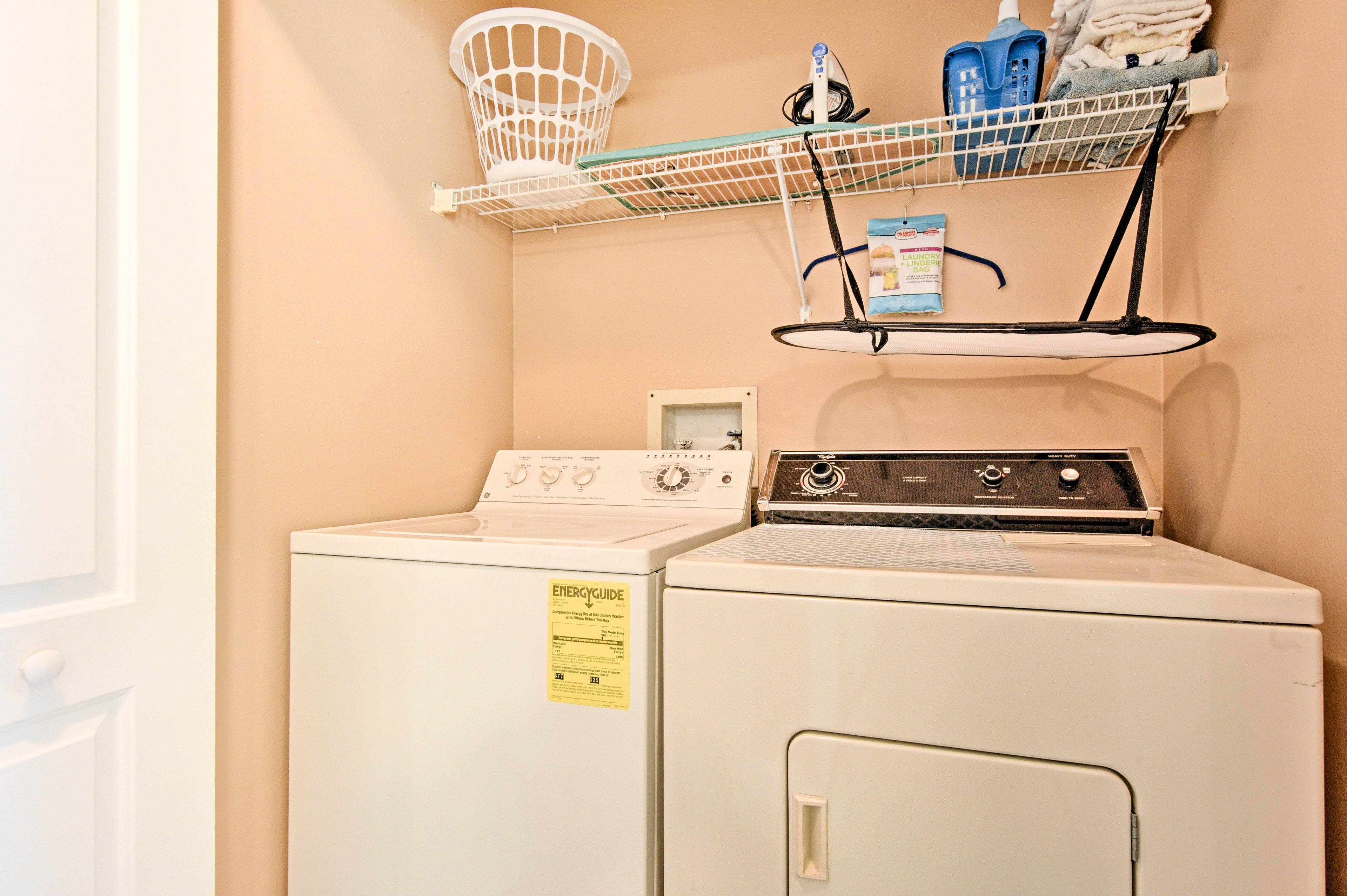 A washer and dryer are conviently hooked up inside the unit.