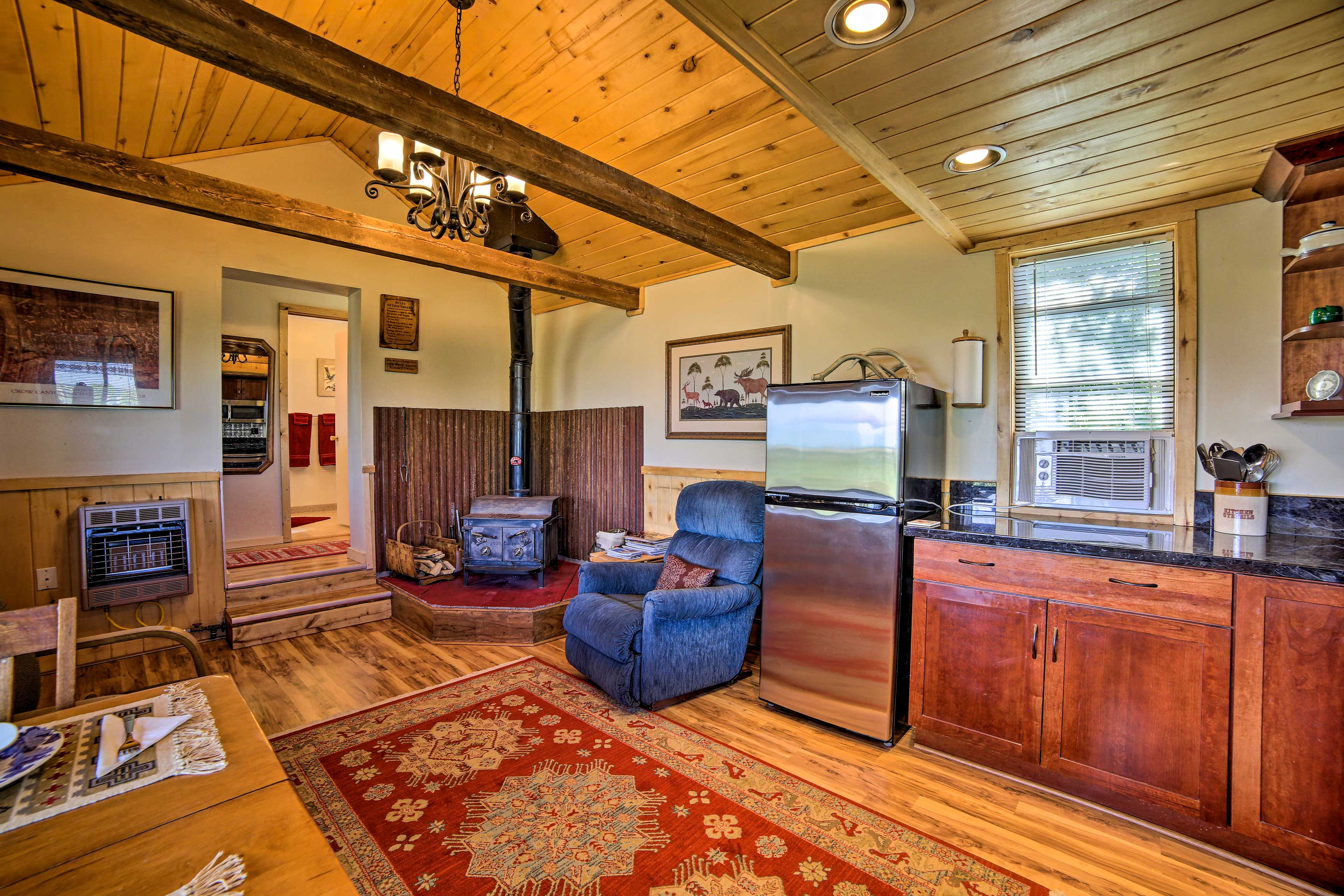 The hardwood floors add a rustic charm to the home.