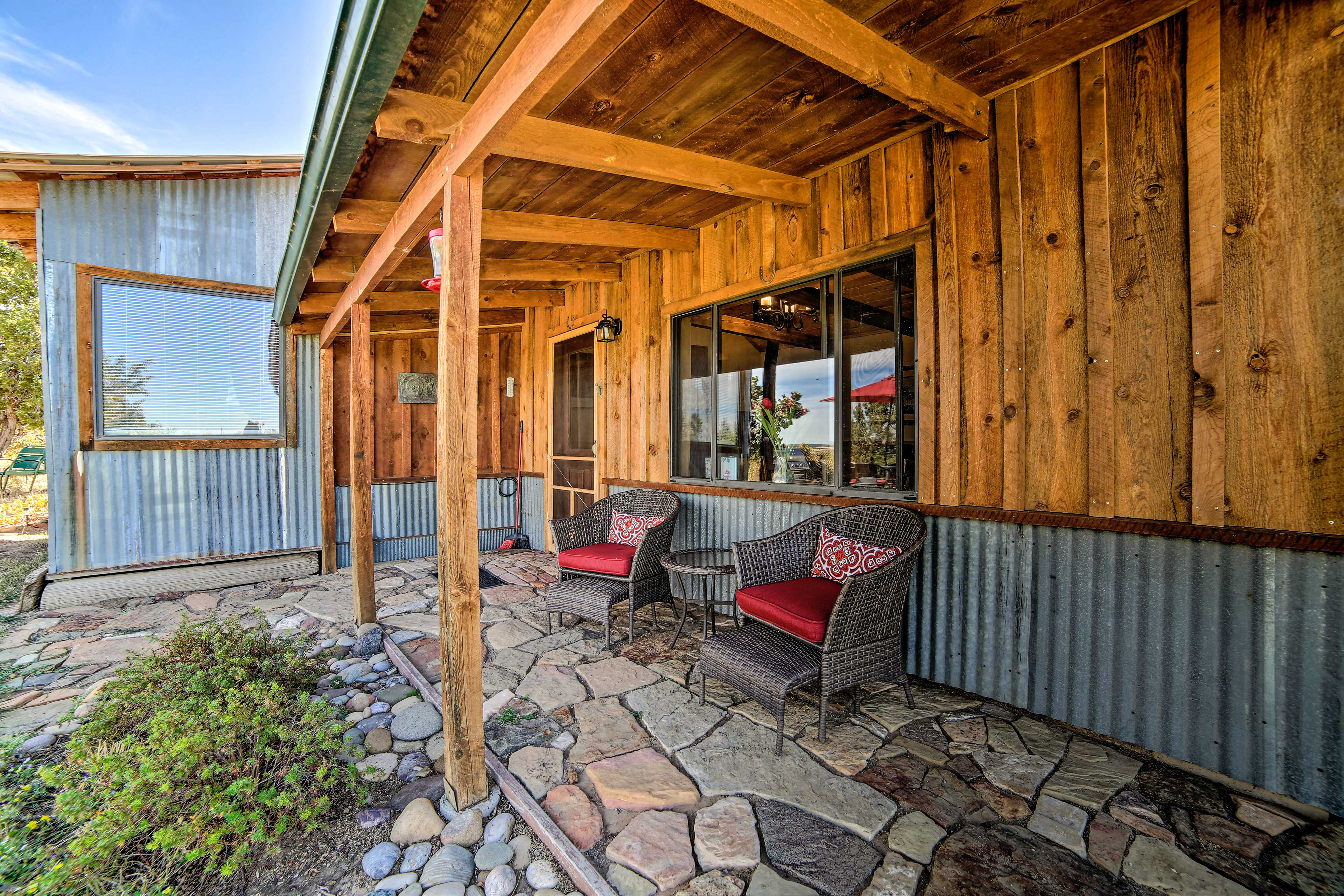 Enjoy some fresh air on the covered patio.