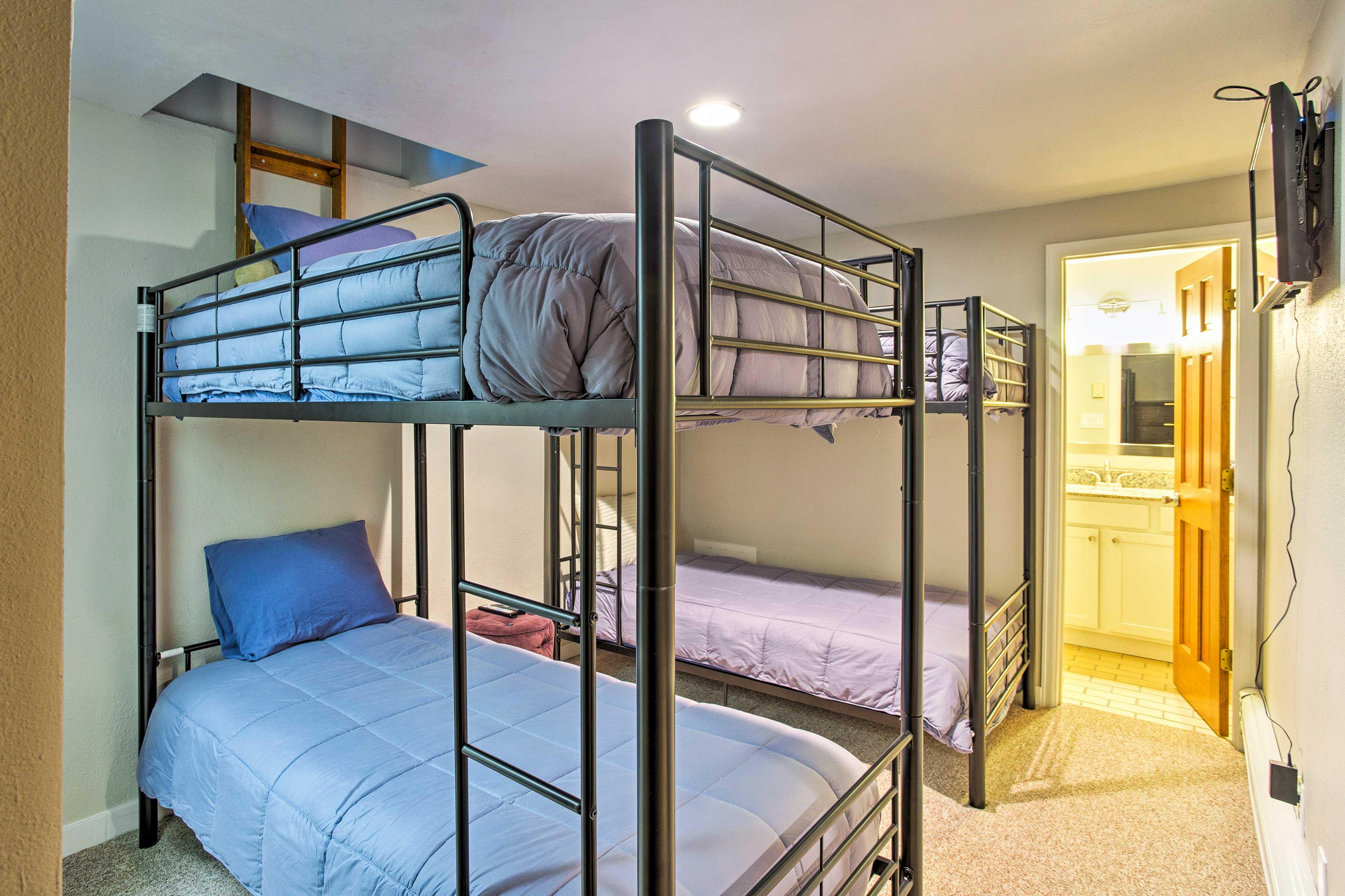 En-suite bathrooms are in each bedroom.