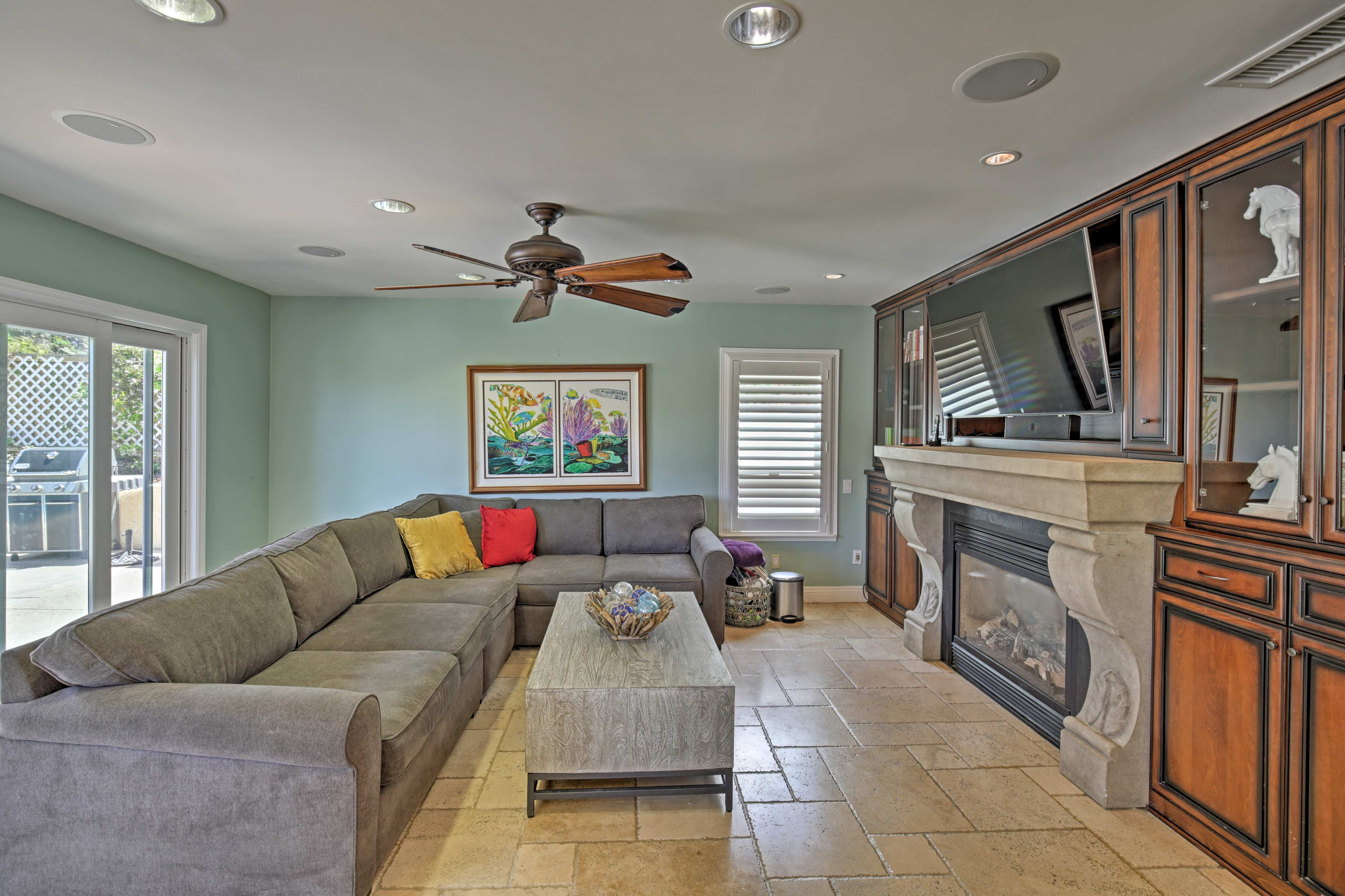 After a day on the beach, enjoy a catnap on this large sectional couch.