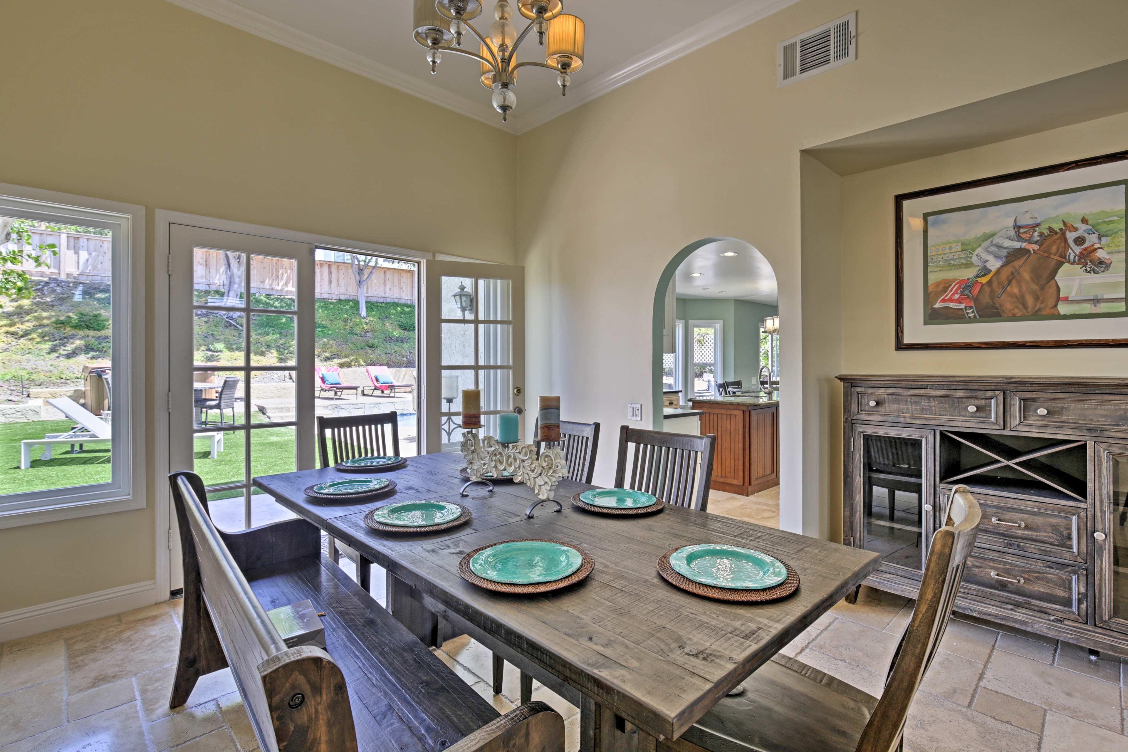 For formal meals, gather at this stately dining table with room for 6.