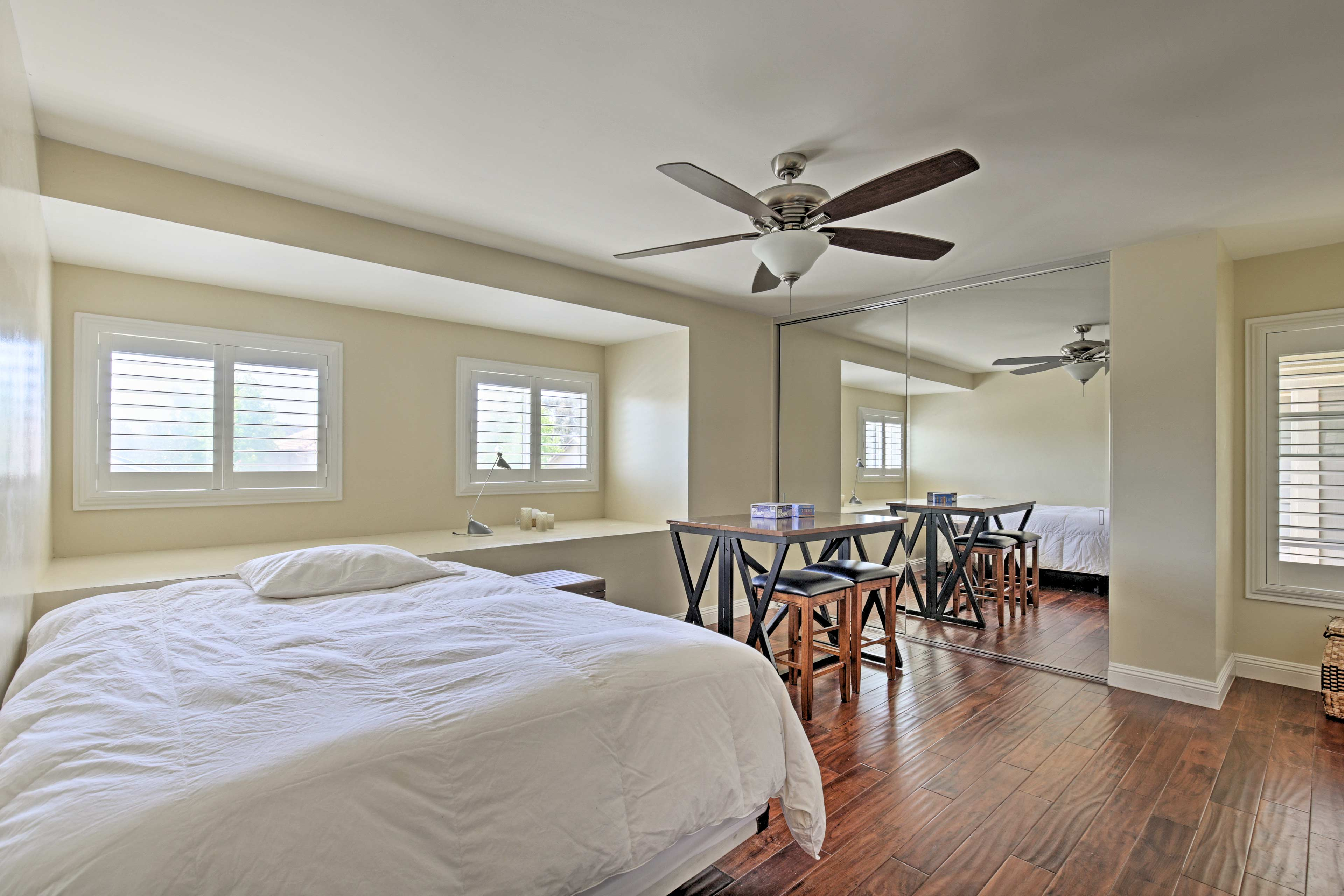 The 4th bedroom, with a queen bed, doubles as an entertainment room!
