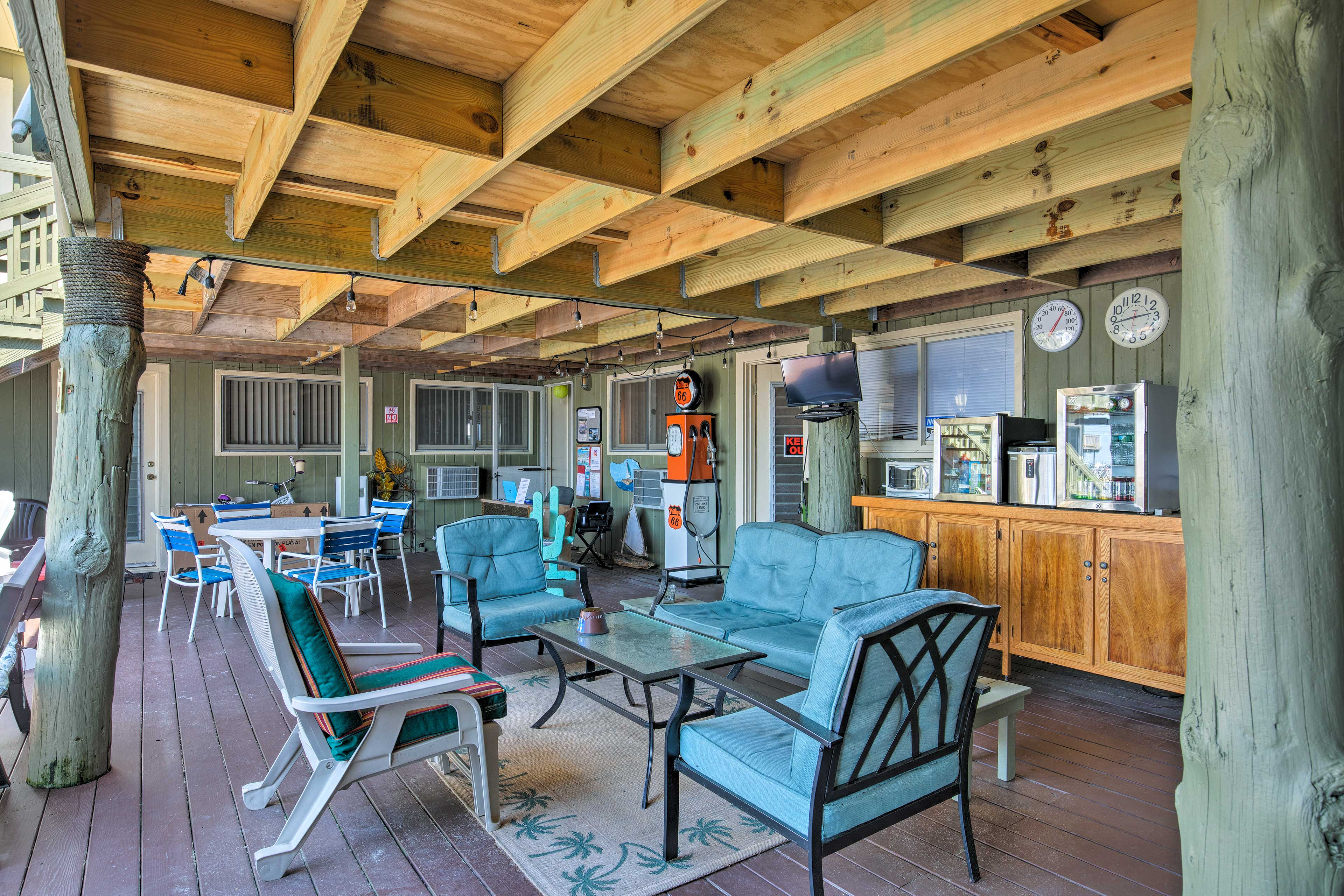 Need a break from the sun? The covered patio is steps away.