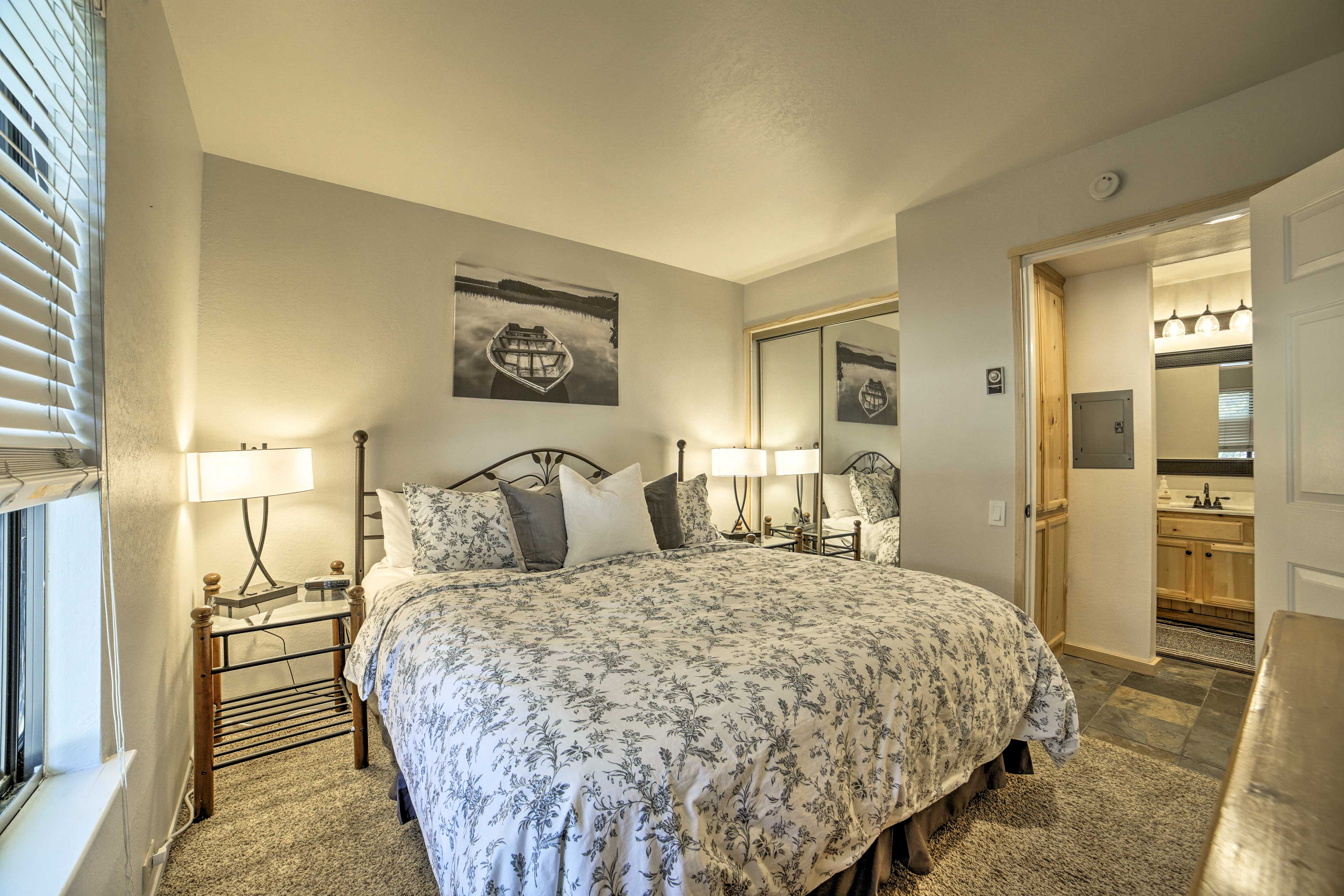 This master bedroom is fit for a king.