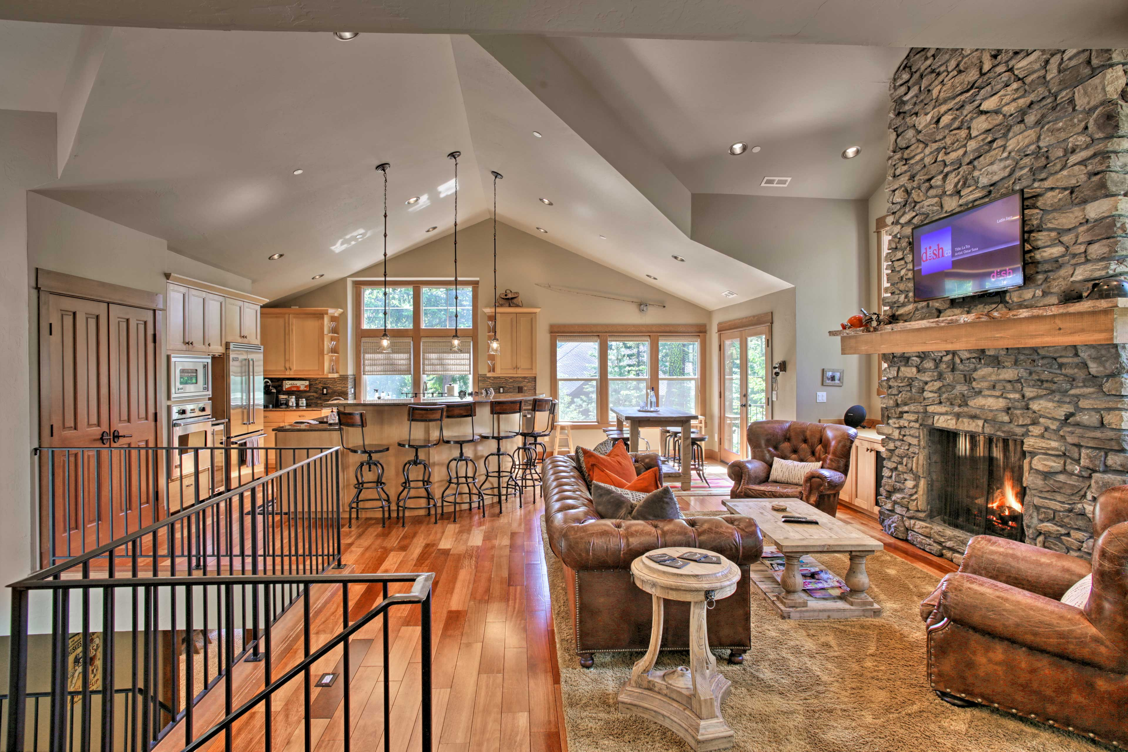 High ceilings mark the interior of this 2,800-square-foot house