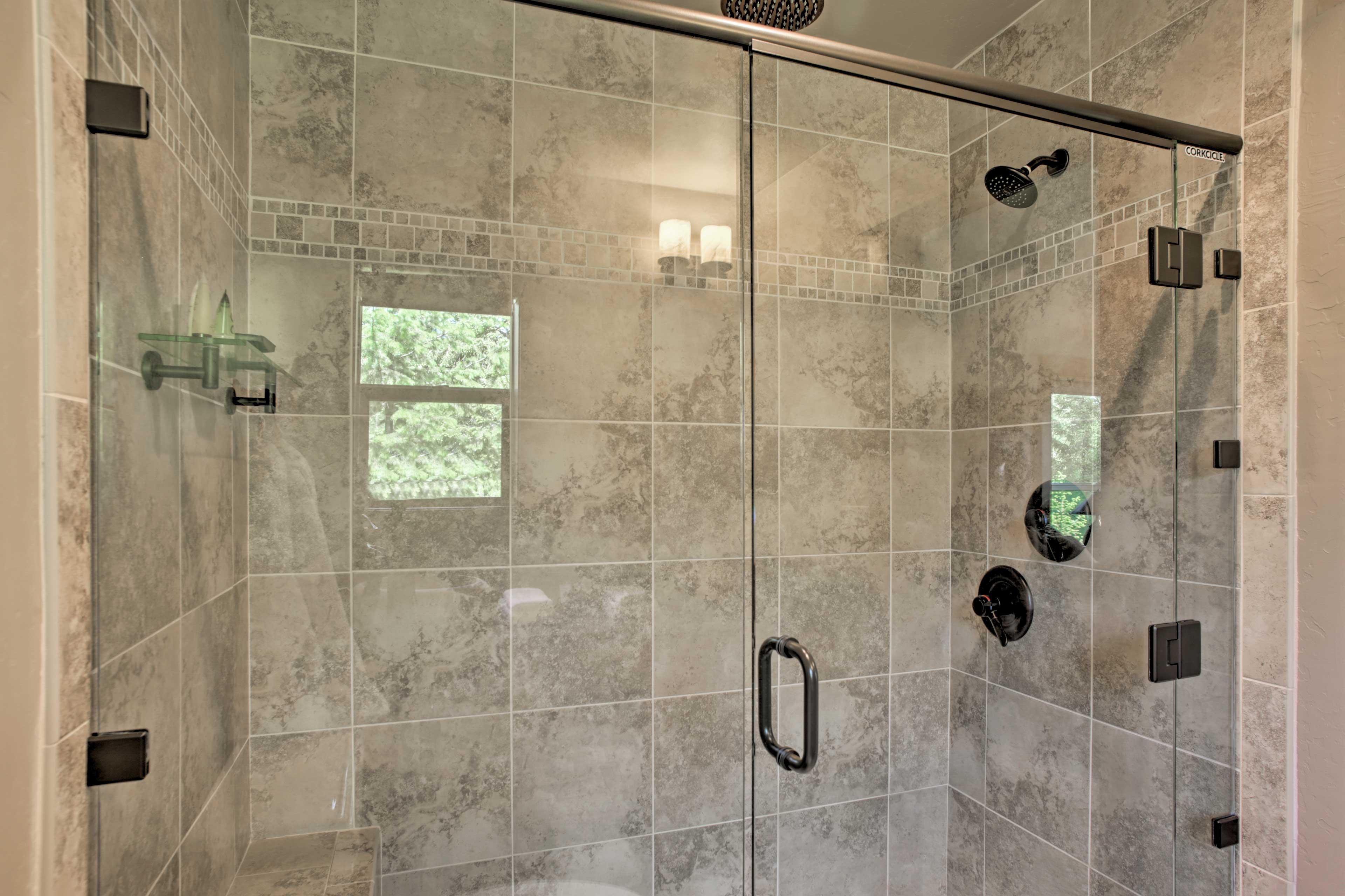 Rinse off underneath the rainfall showerhead.