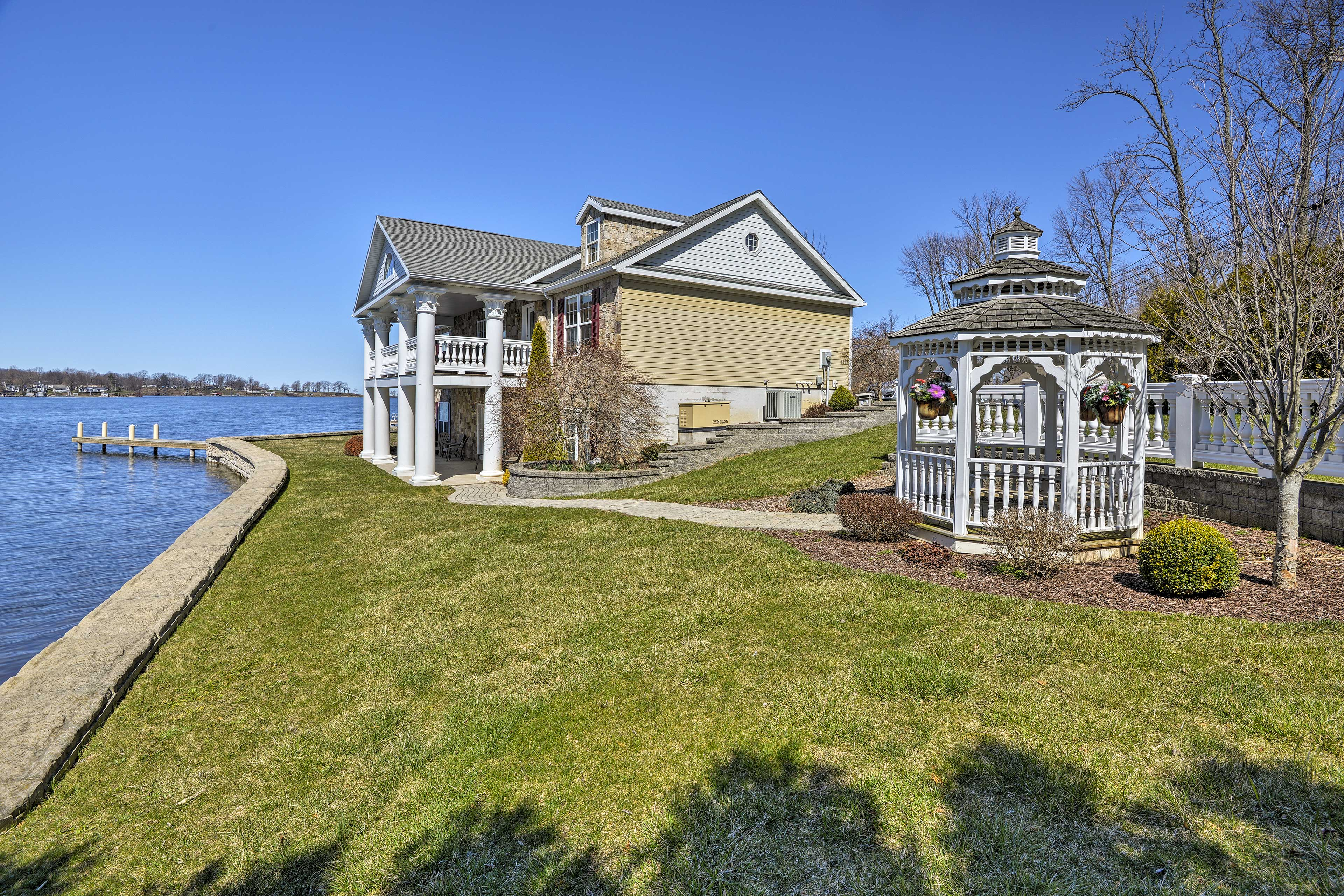 The home features 153 feet of waterfront property.