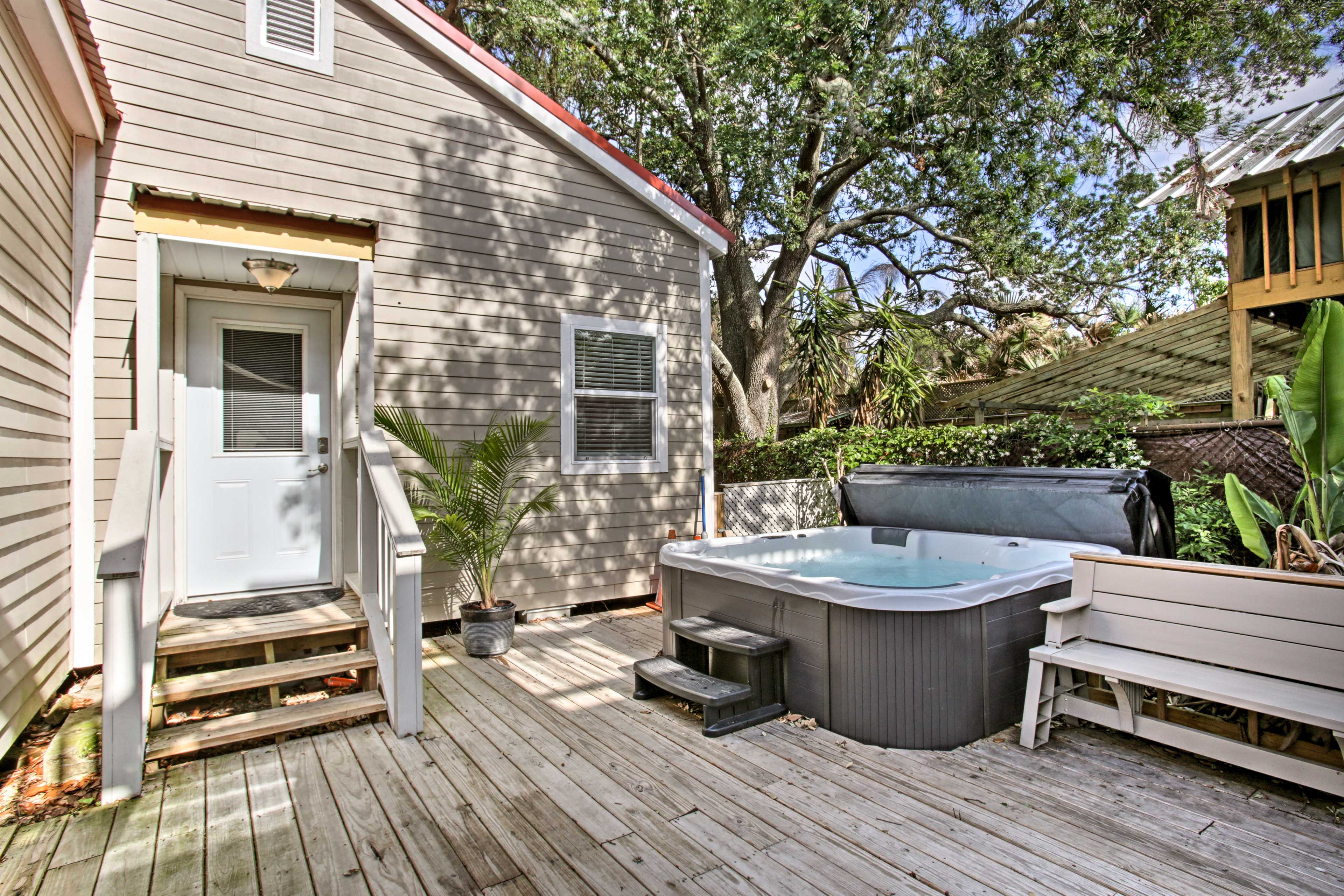 You'll even have access to this private hot tub!