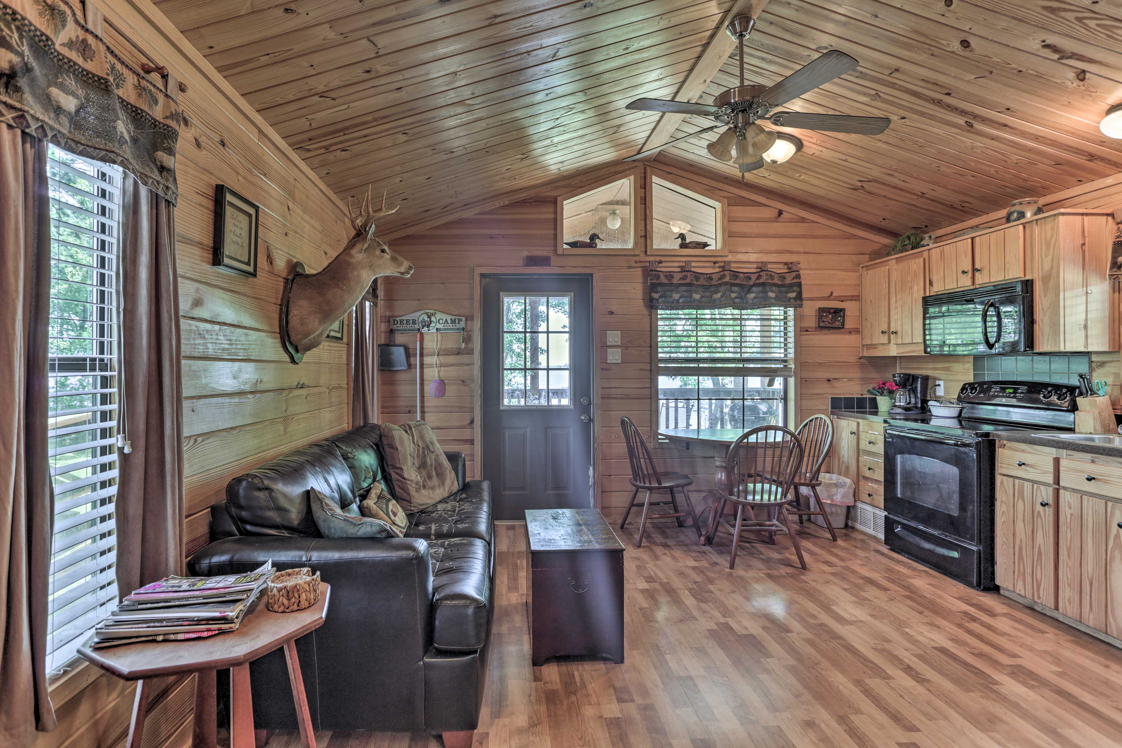 The pine-paneled walls echo the natural beauty found outside.