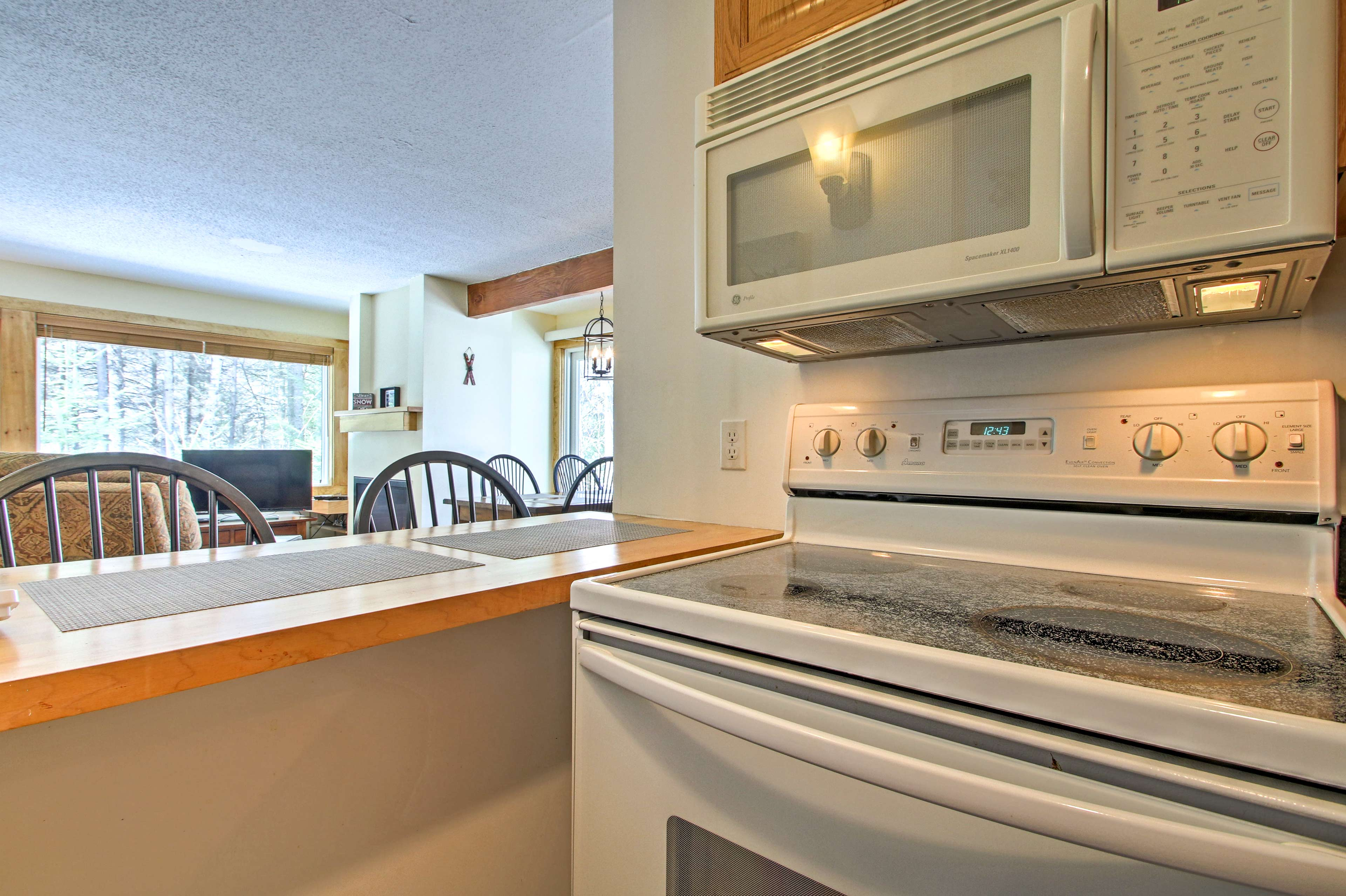 The kitchen sits just steps from the main living area.