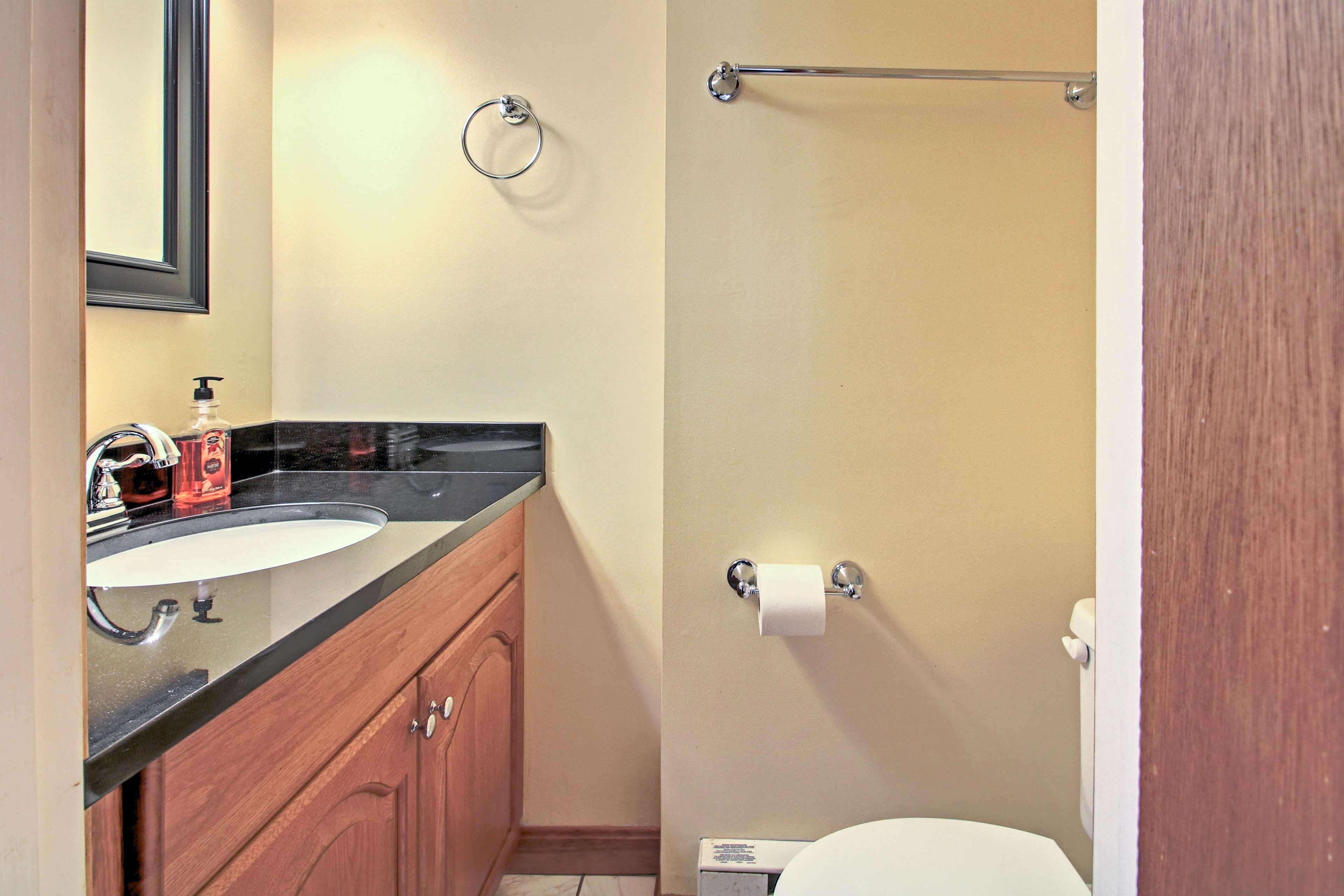 This convenient bathroom sits just steps from everything.