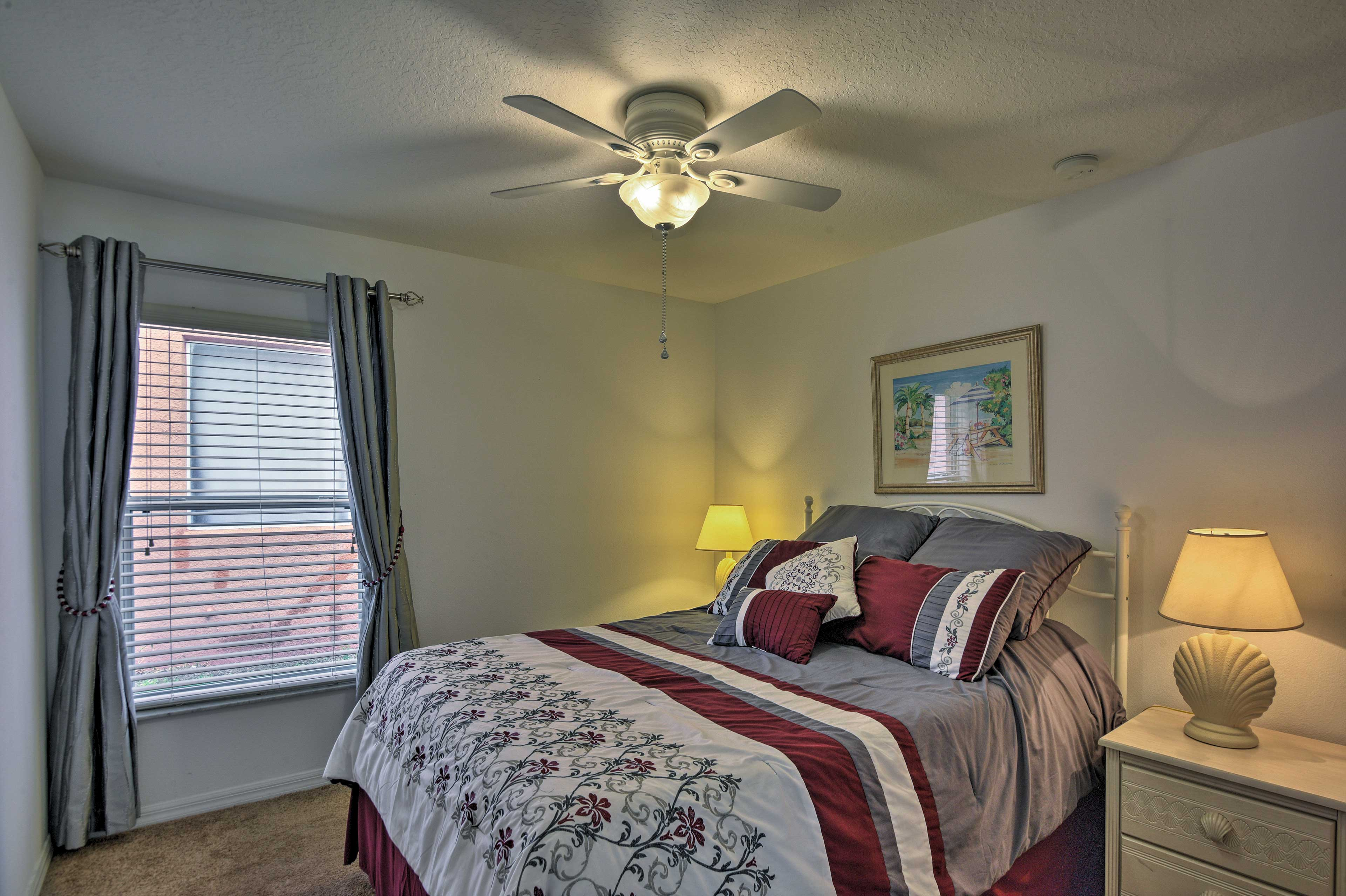 Dive under the covers of the queen bed in the second bedroom.
