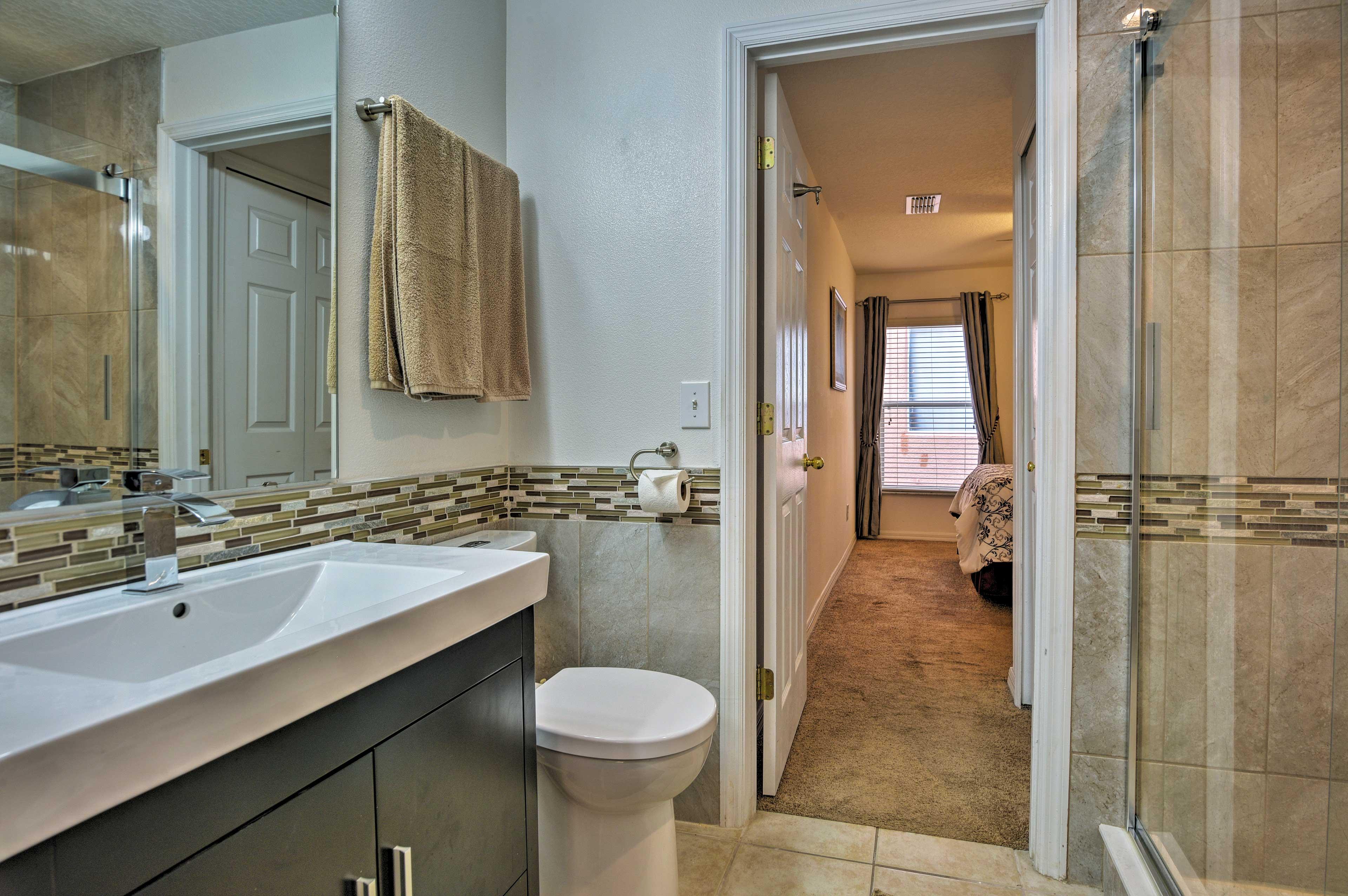 The second bedroom also offers an en-suite bathroom.
