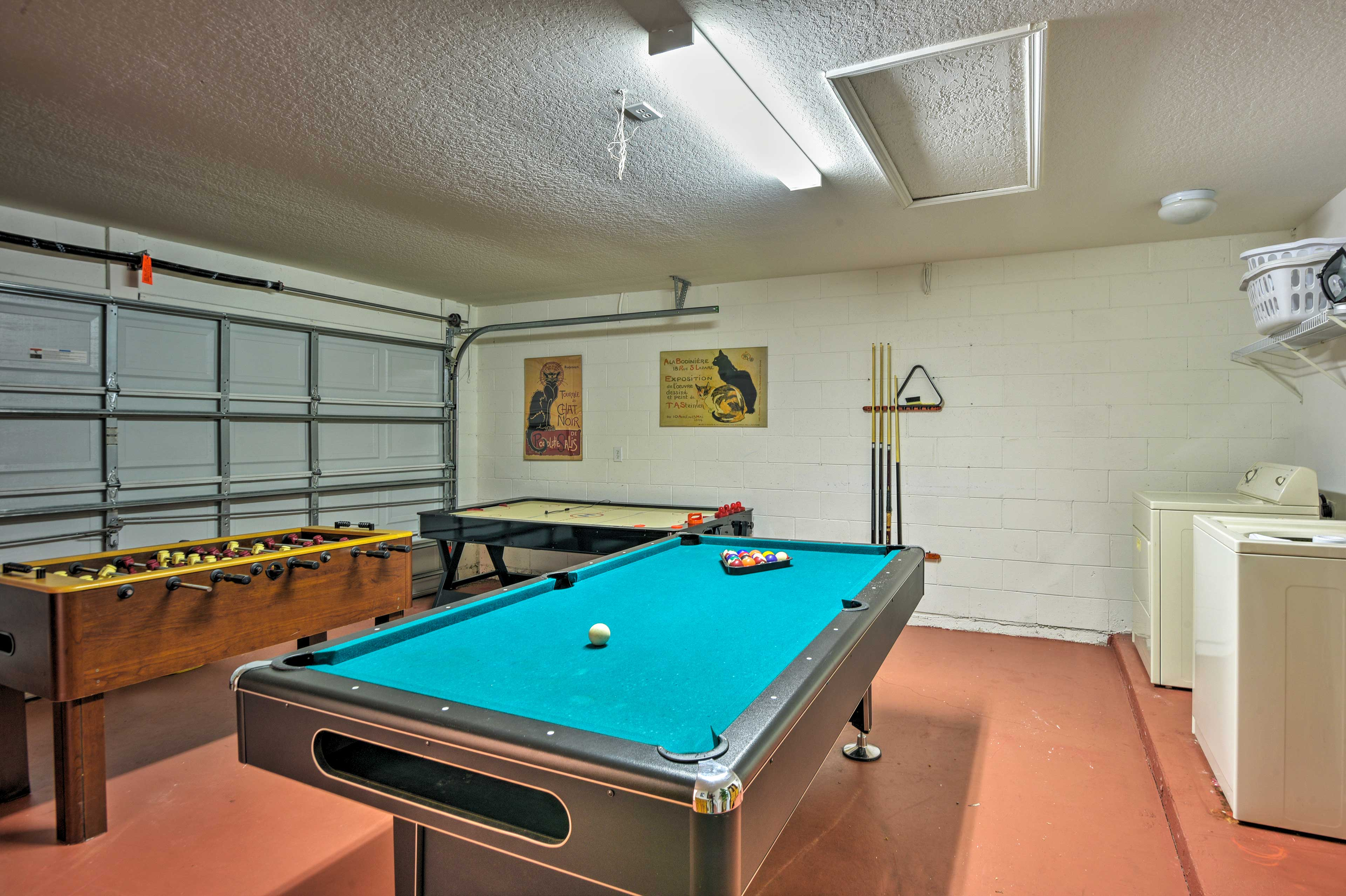 Challenge each other to friendly competitions in the game room.