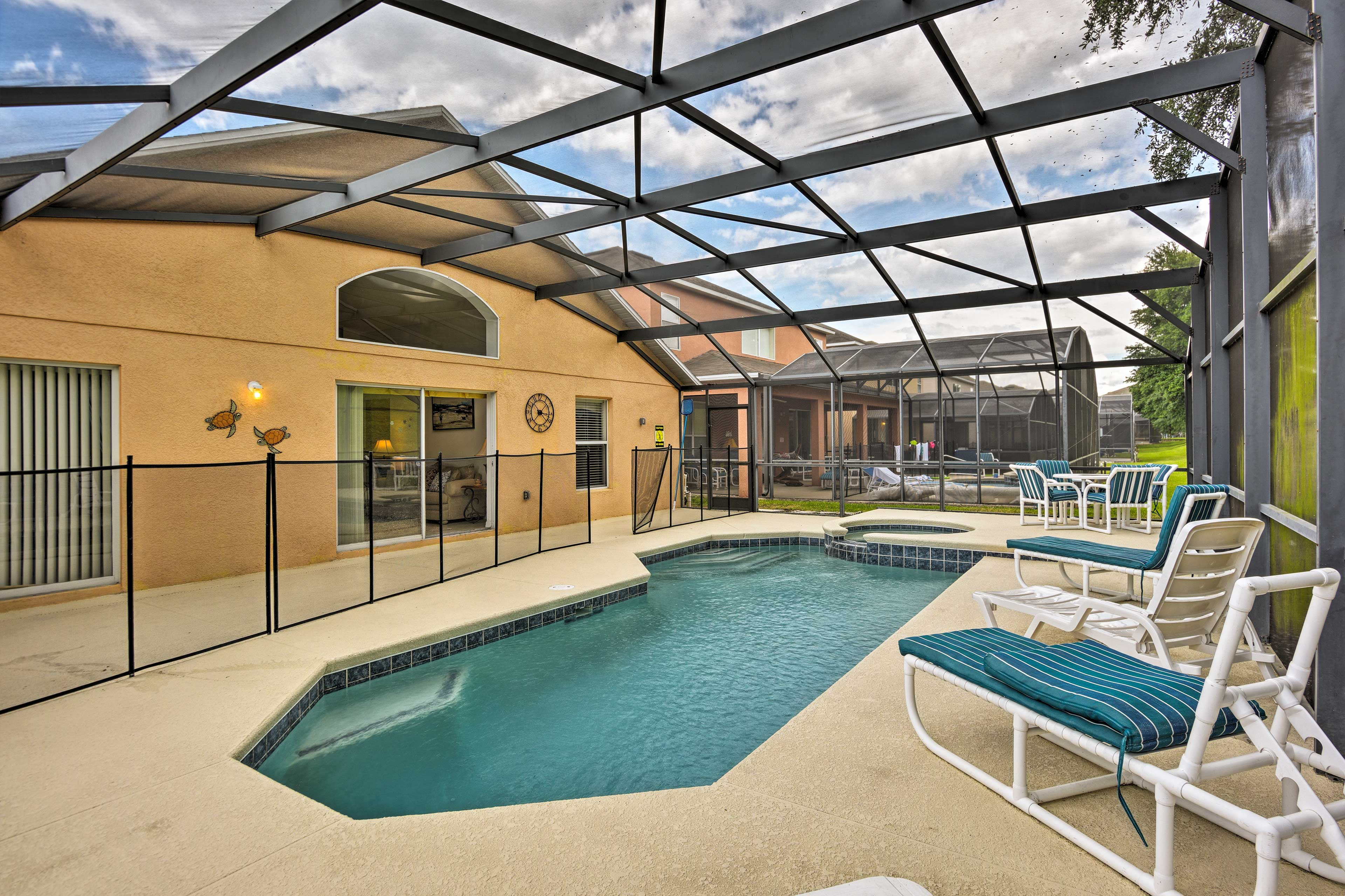 The screened-in pool area will be your favorite place to hang out.