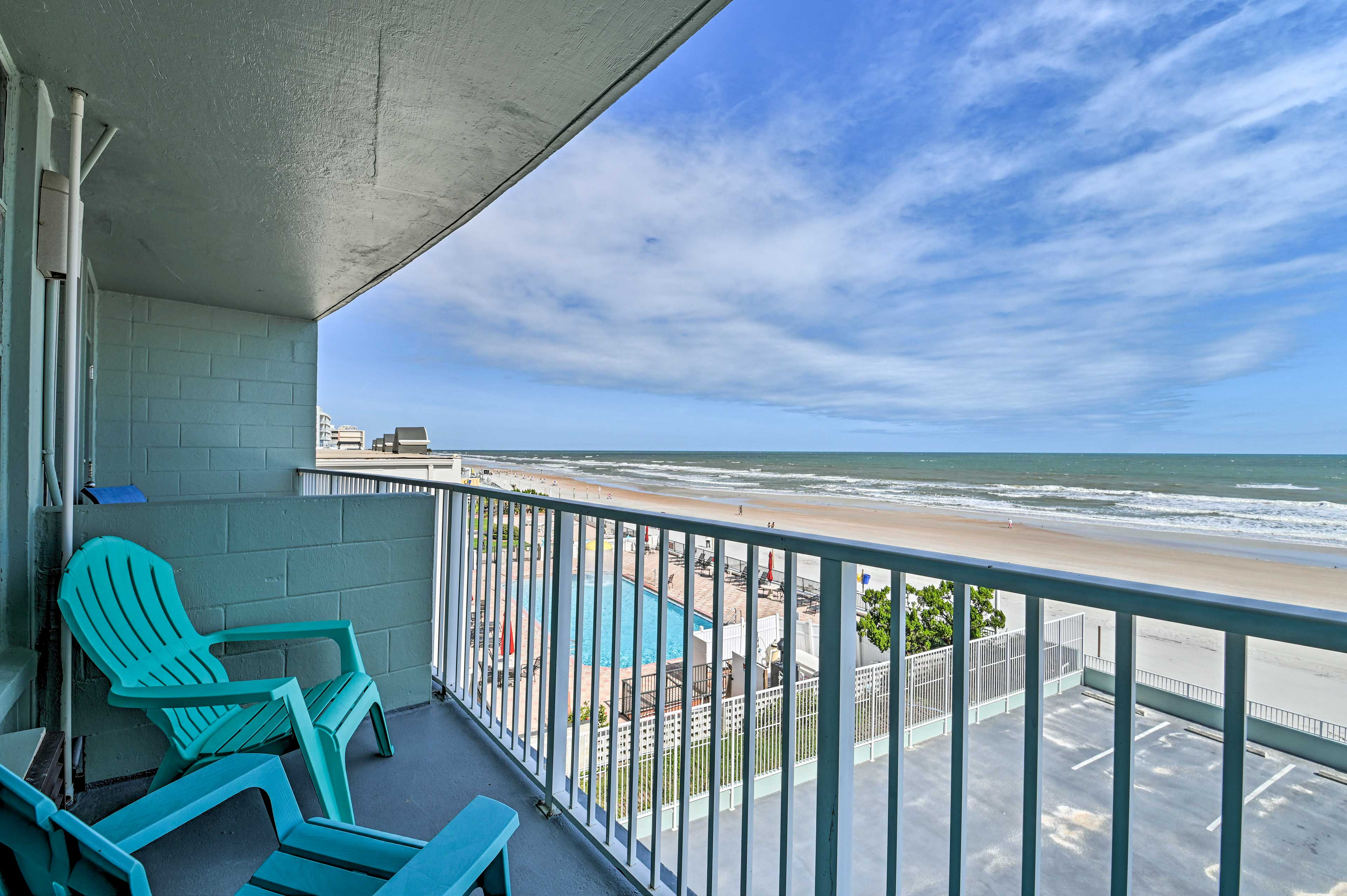 Enjoy oceanfront views from the private balcony!
