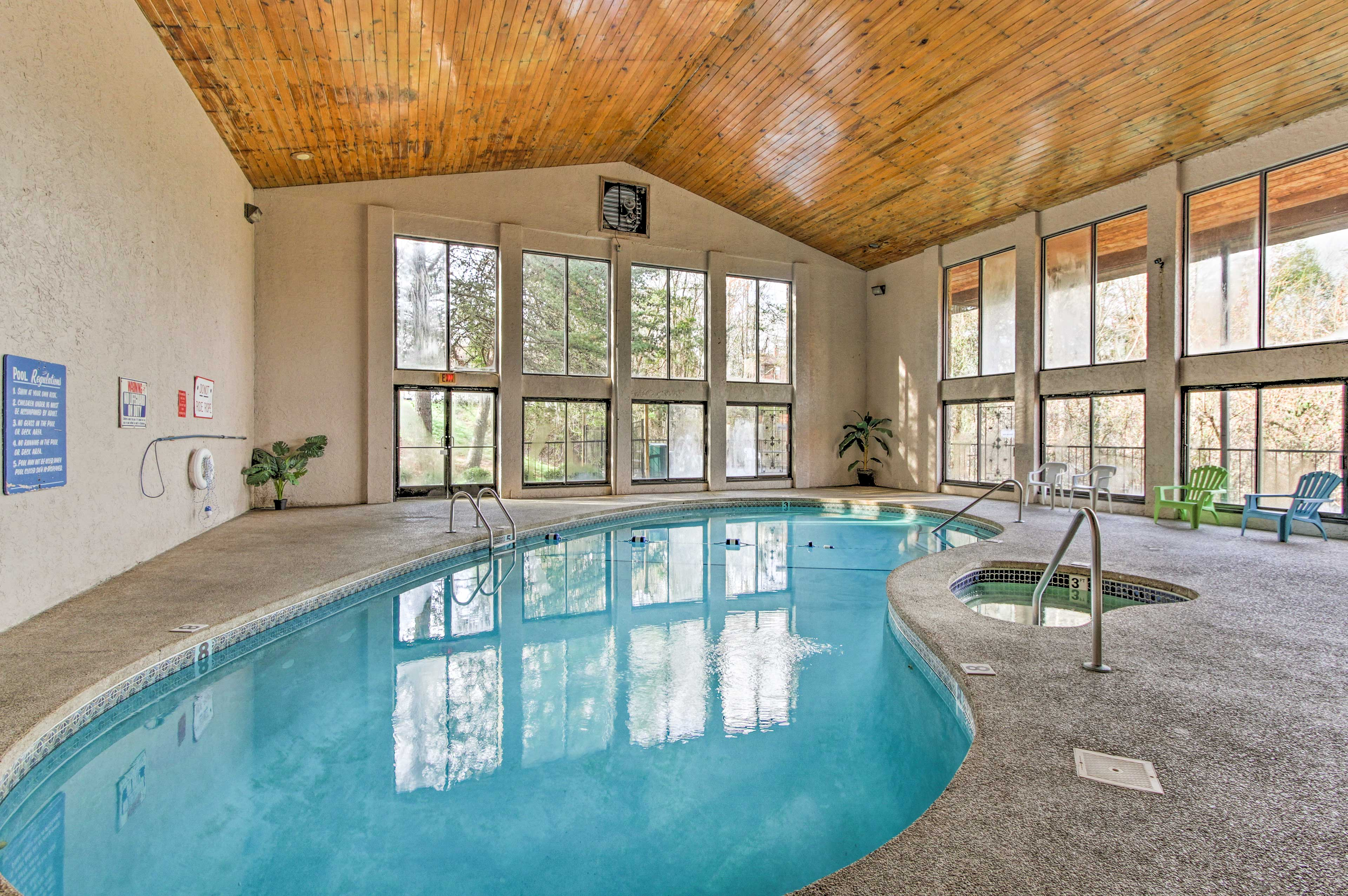 Splash around in the pool or soak in the hot tub!