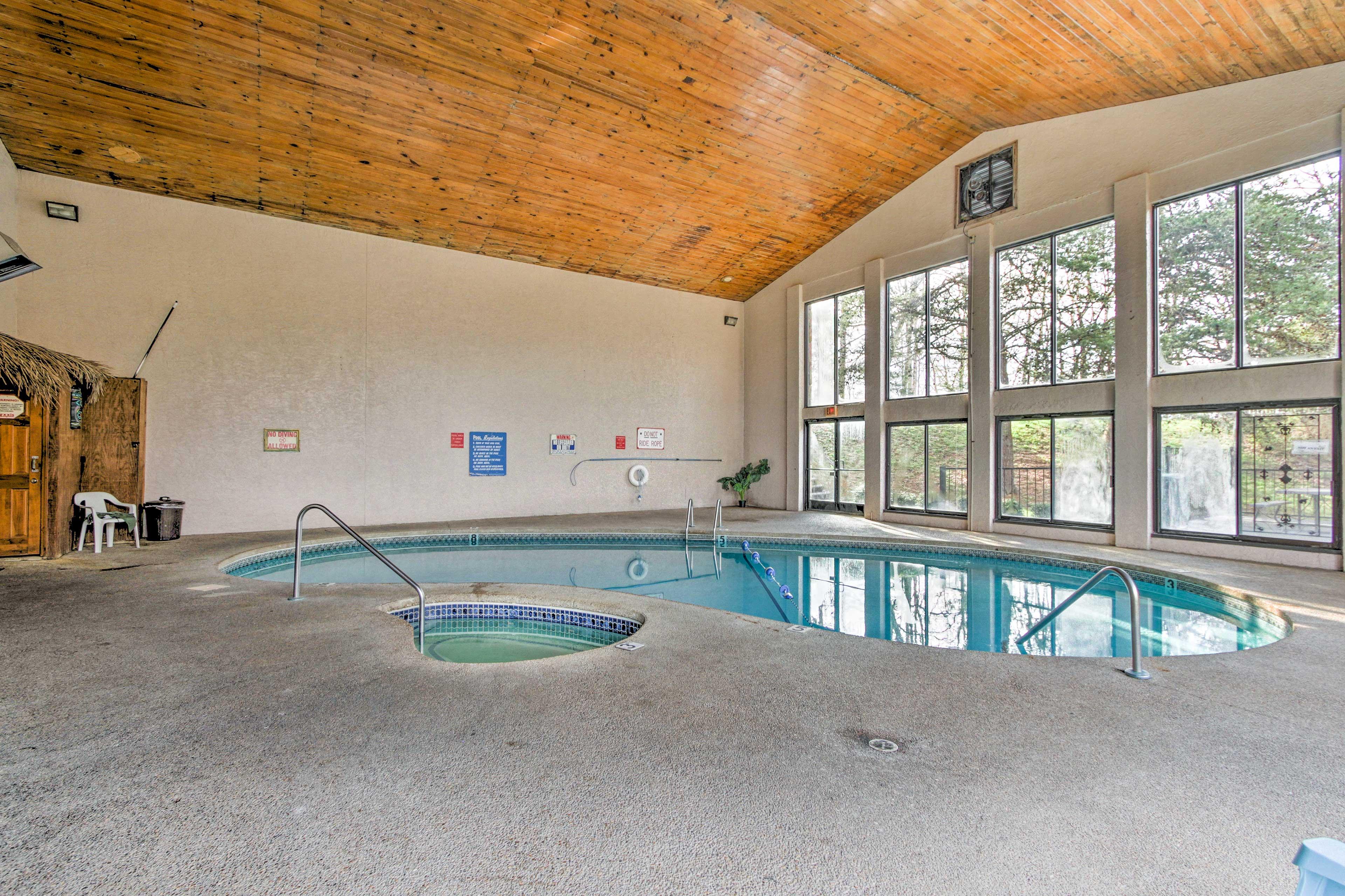 Swim in the community, heated pool.