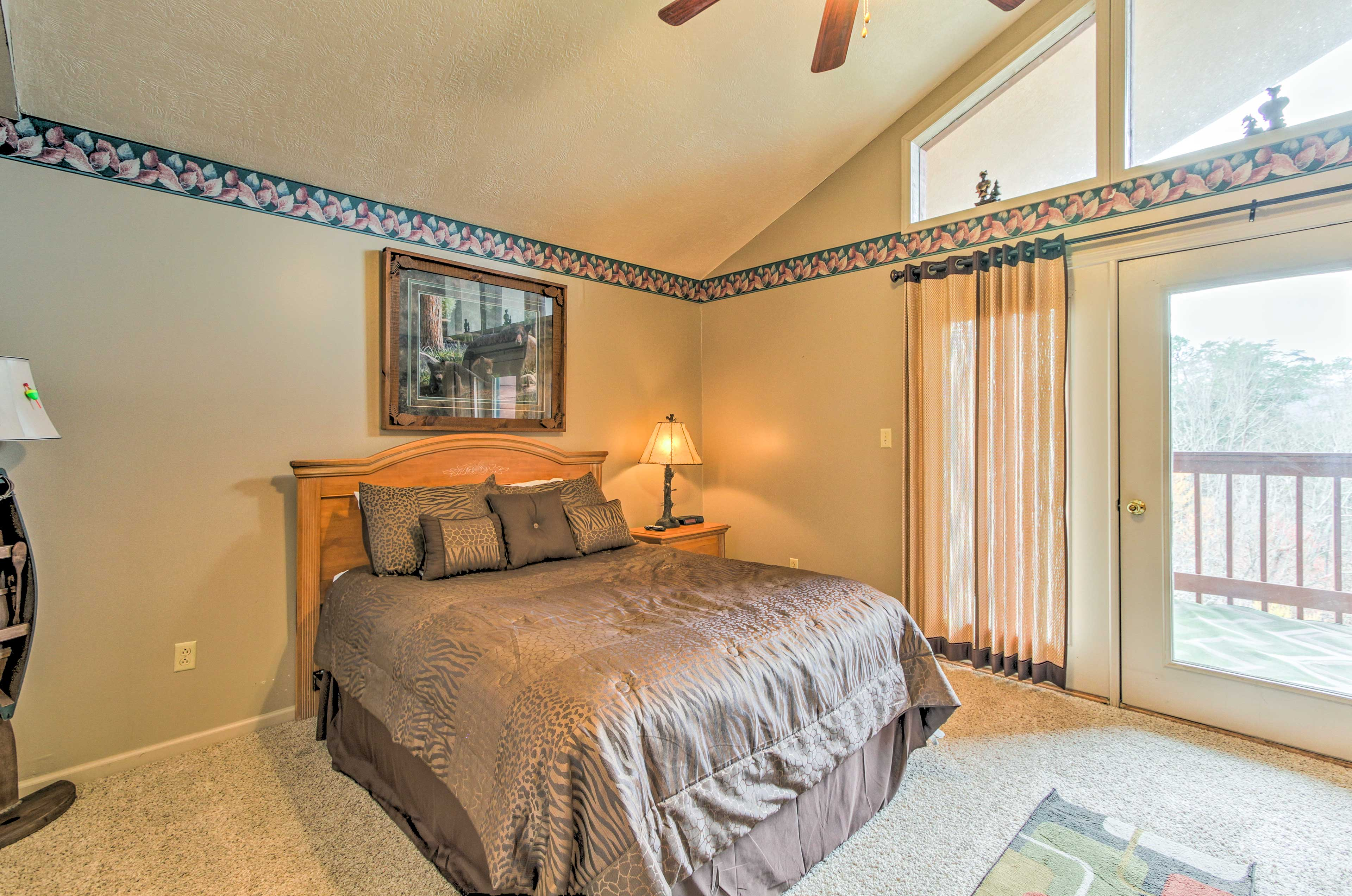 Retreat to the master bedroom for a restful night.