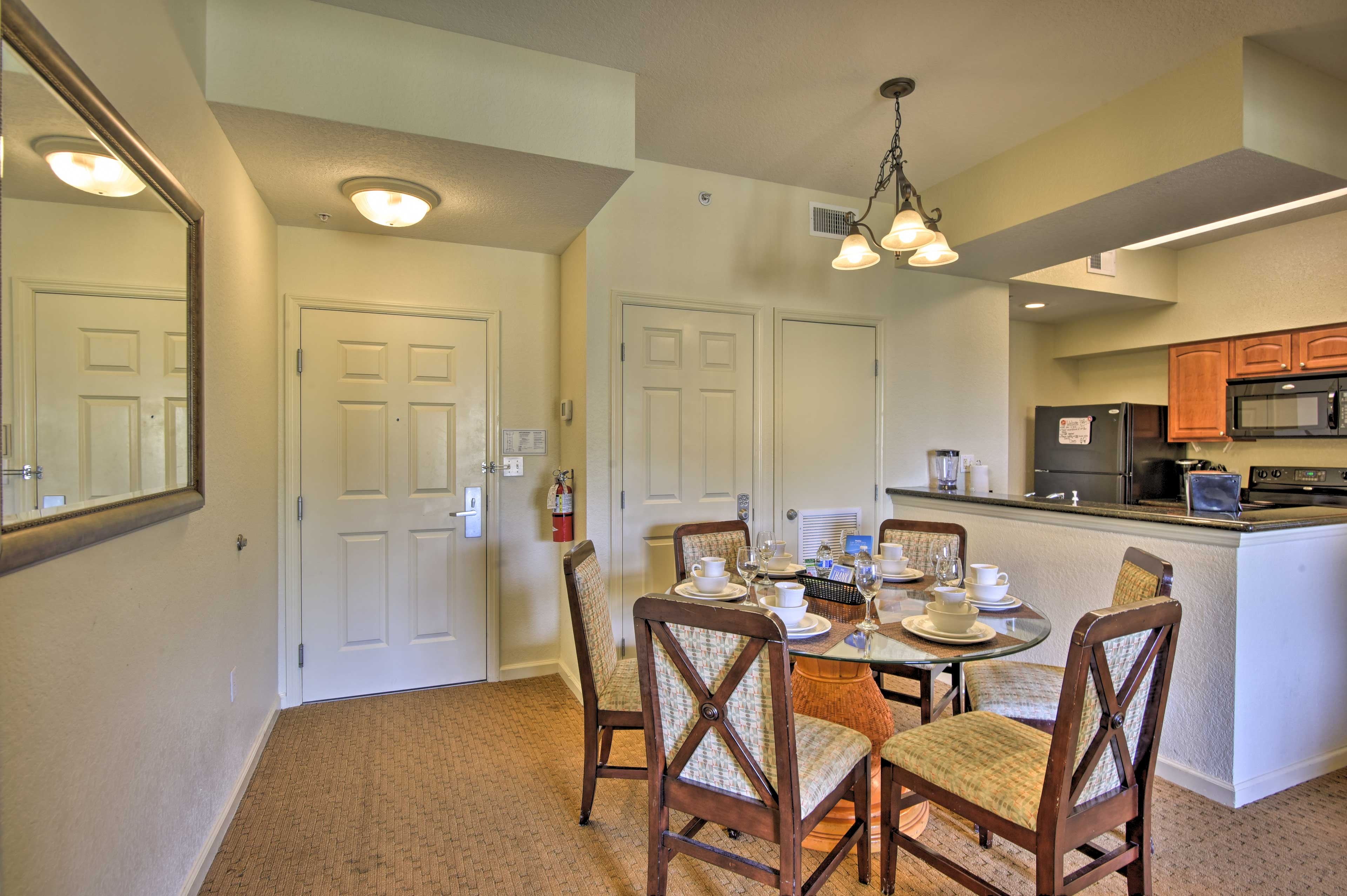 Enjoy home-cooked cuisine around this table for 6.