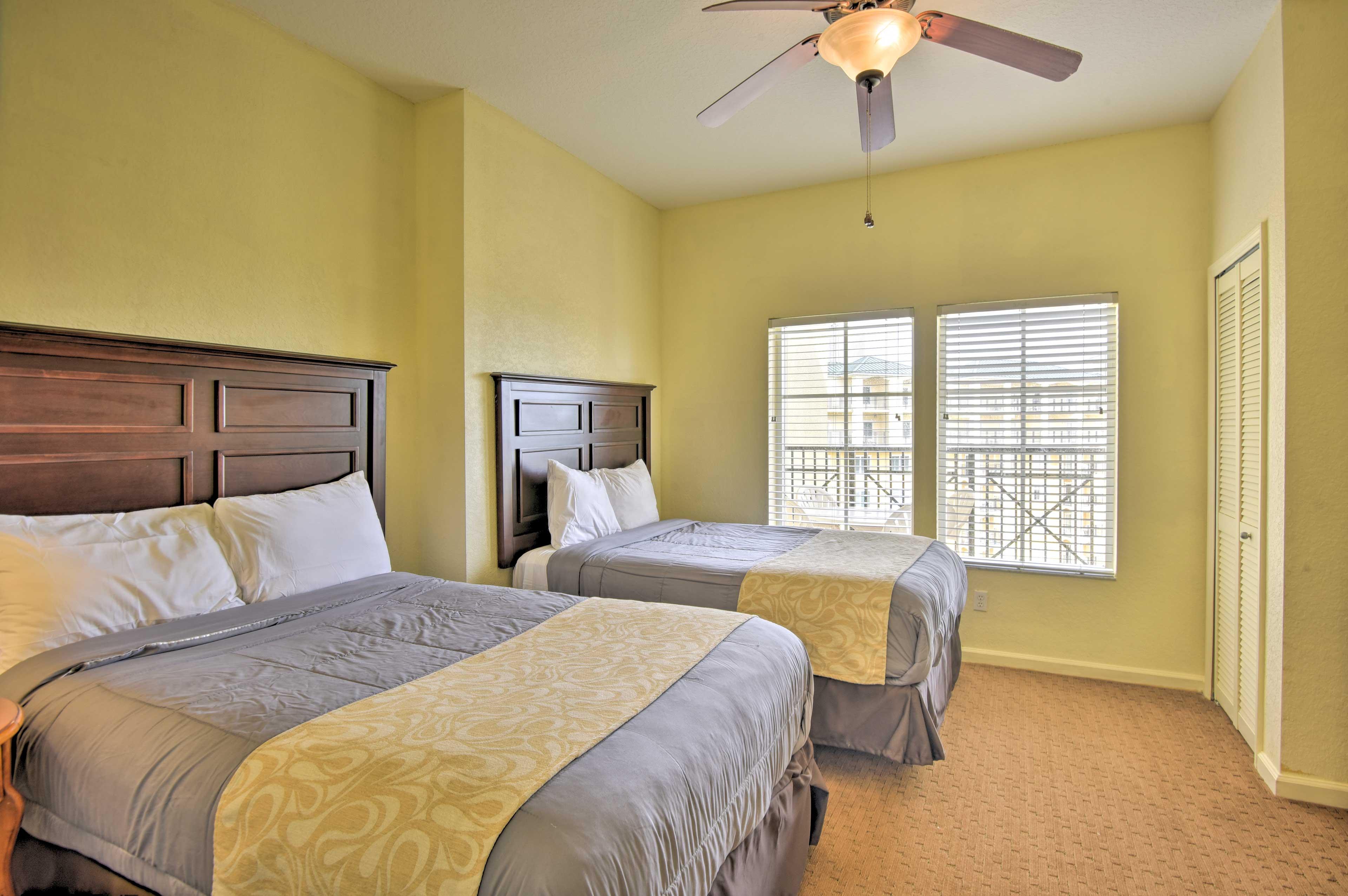 Bedroom 2 boasts 2 full-sized beds.