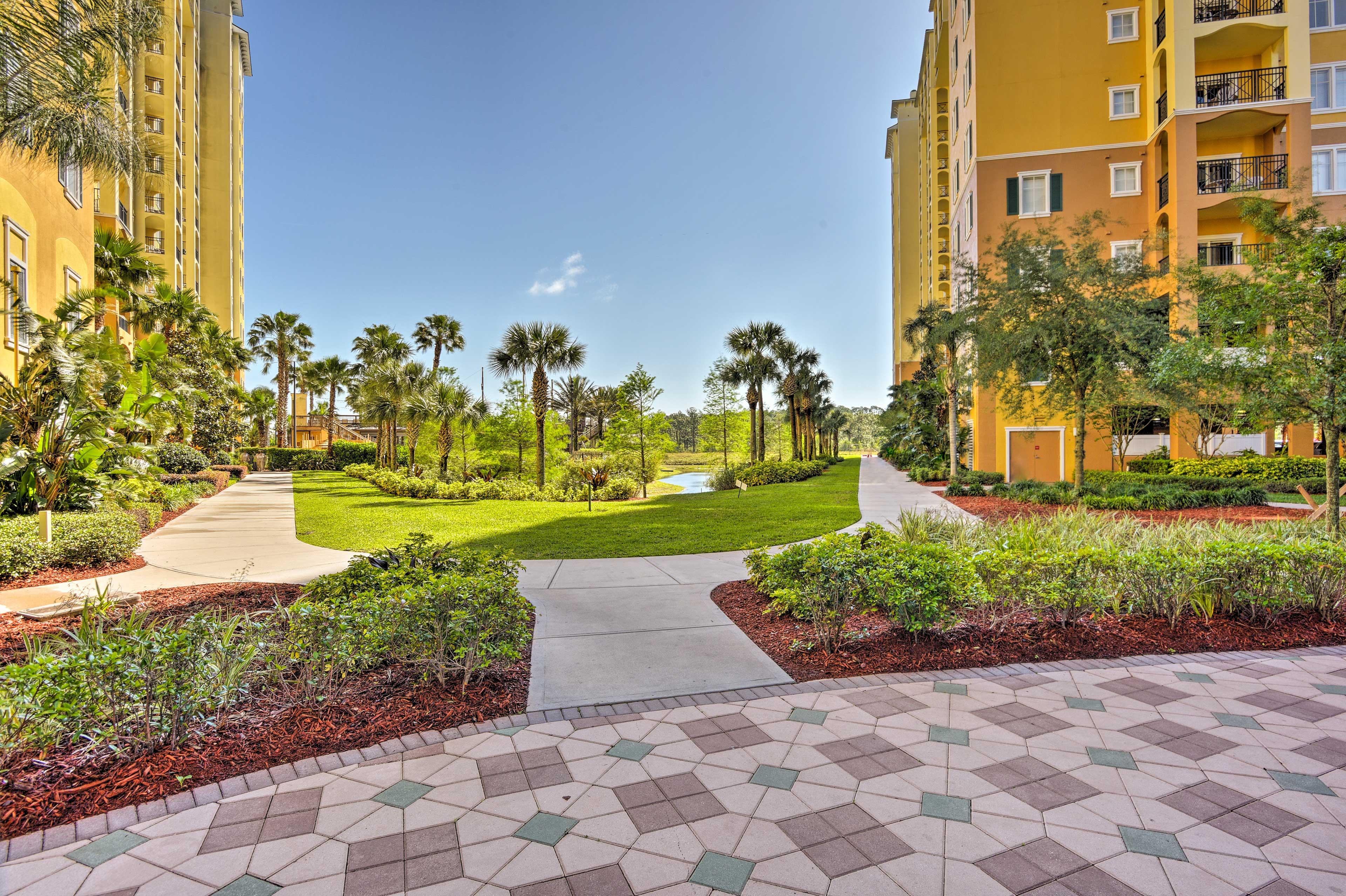 Take scenic strolls through the lush, tropical gardens.