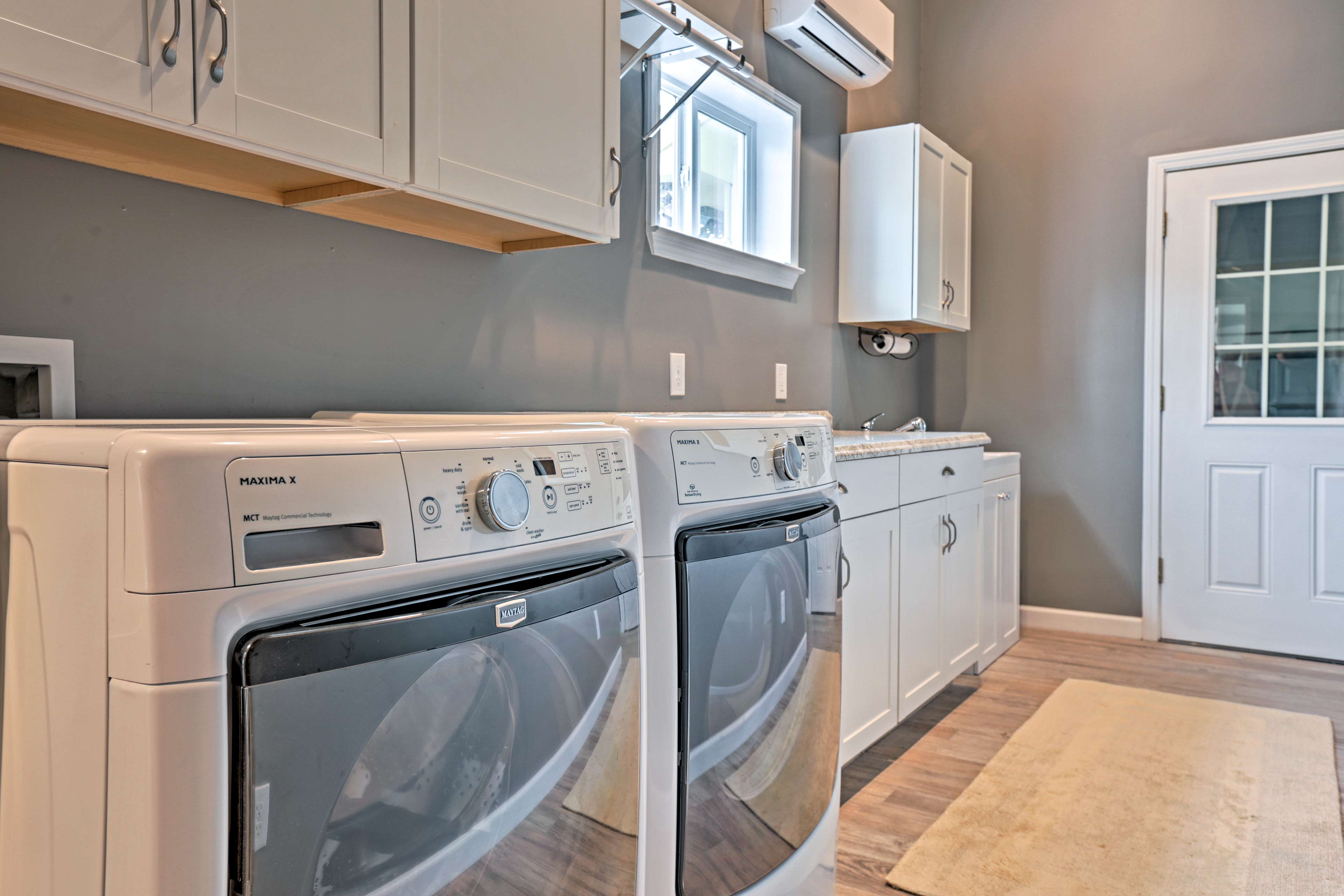 Feel free to pack light and utilize the laundry room.