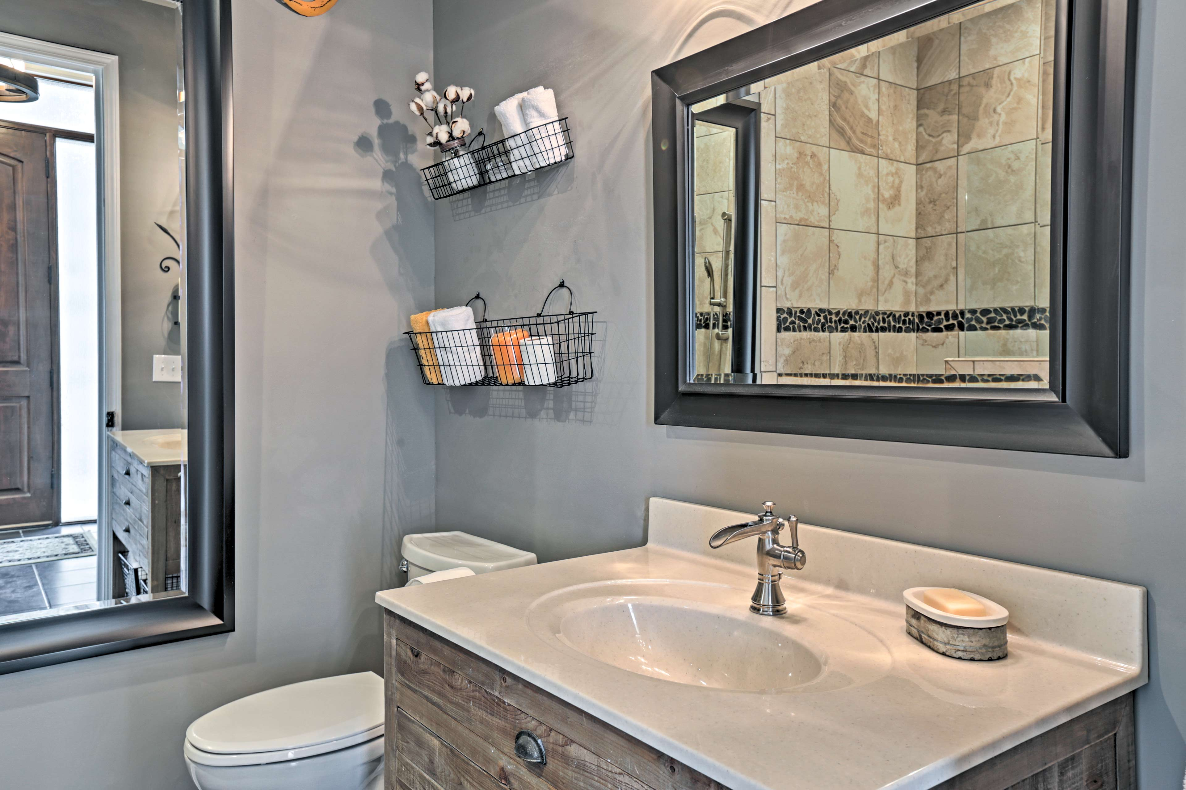 There are 3.5 bathrooms total throughout the property.