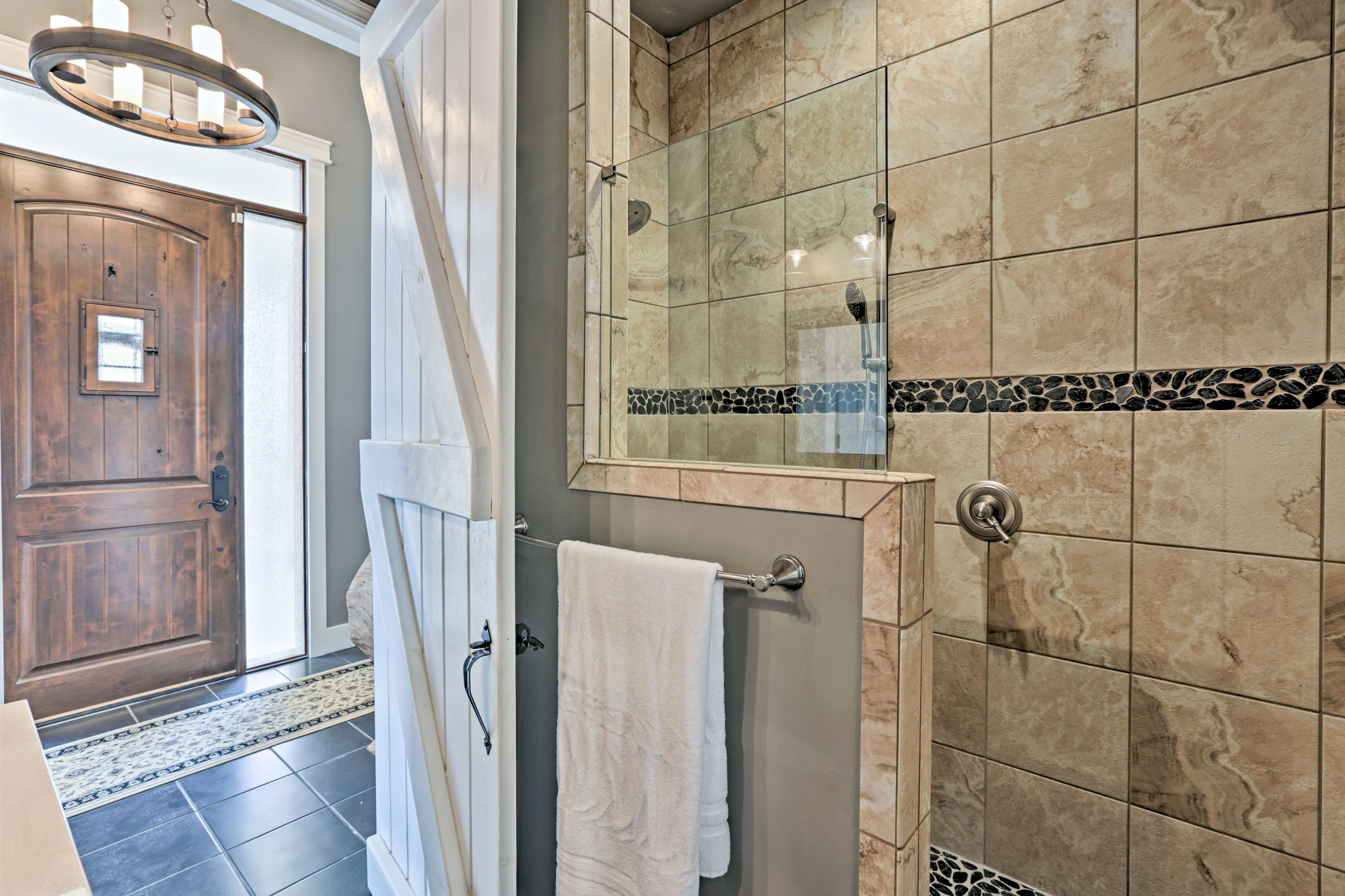 Steam away in this sizeable walk-in shower.