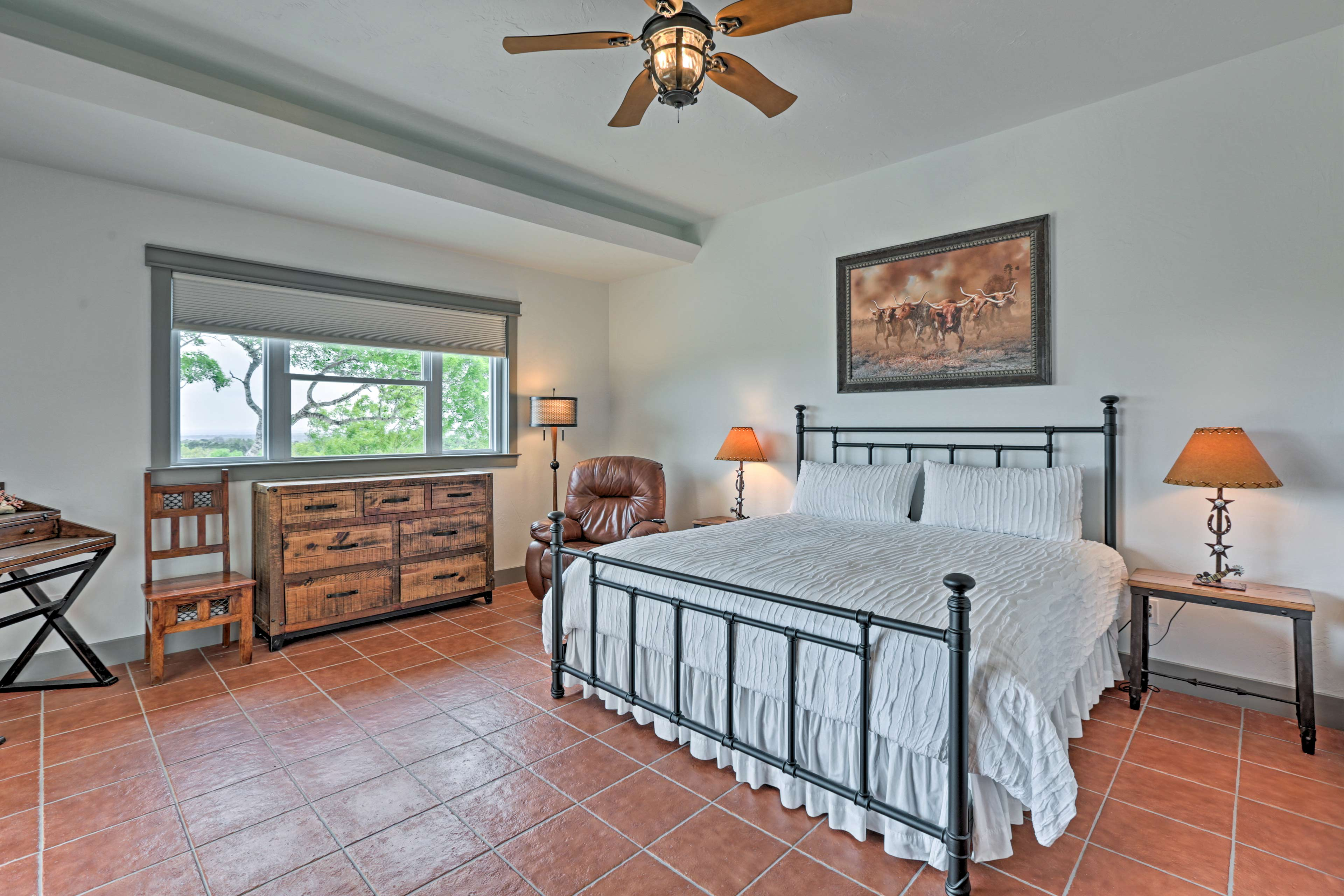 Two lucky travelers can share this master bedroom.