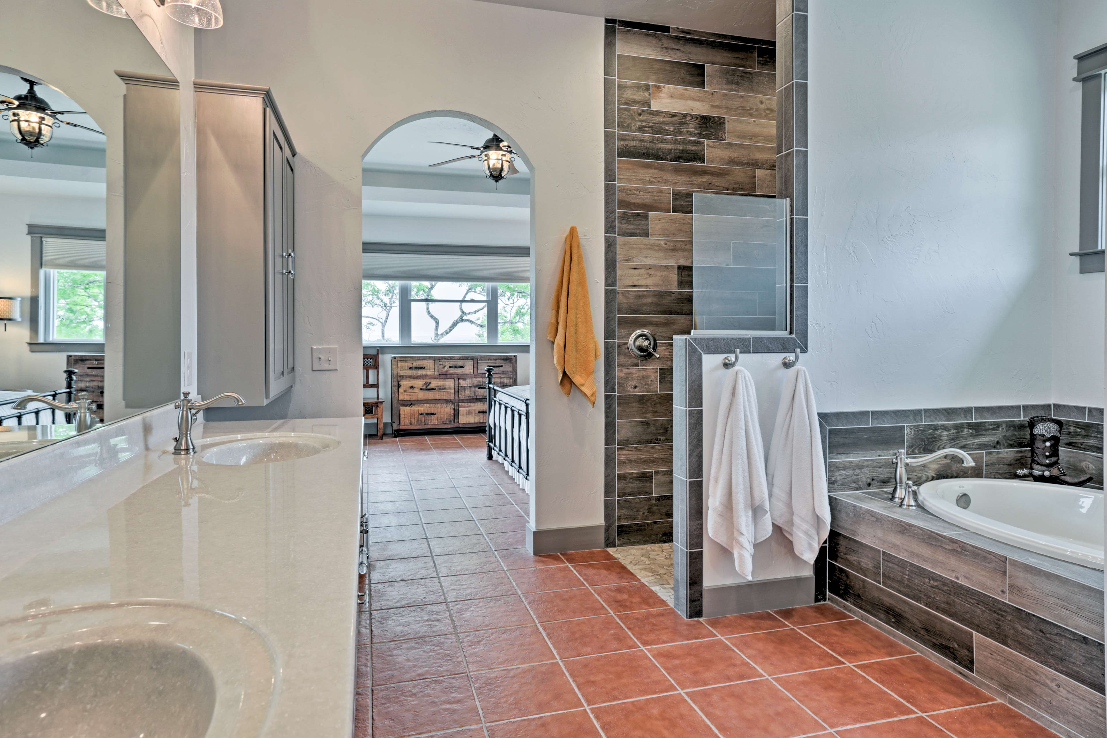 Soak your troubles away in the tub, which is located in the master en-suite.