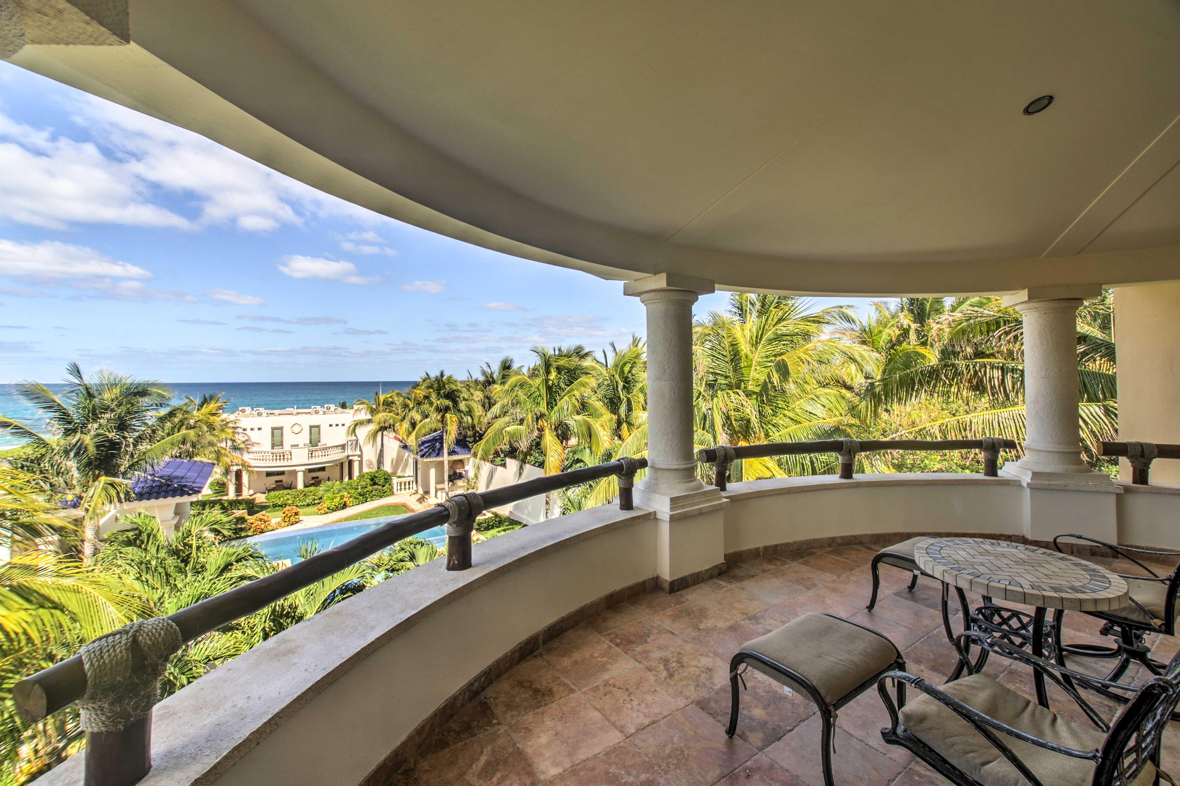 Lounge on the balcony and feel the gentle sea breeze.