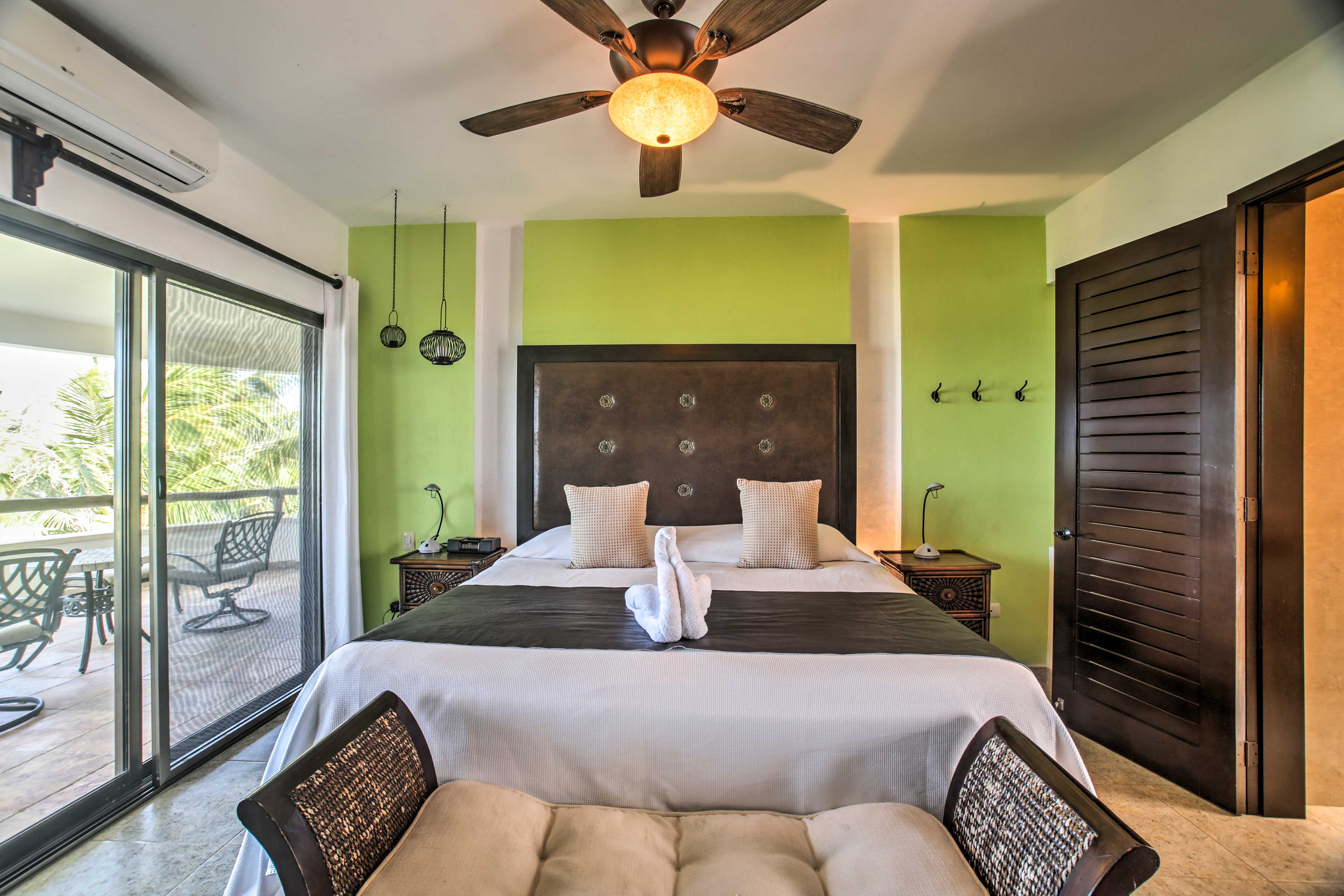 The Green Suite offers a king bed.