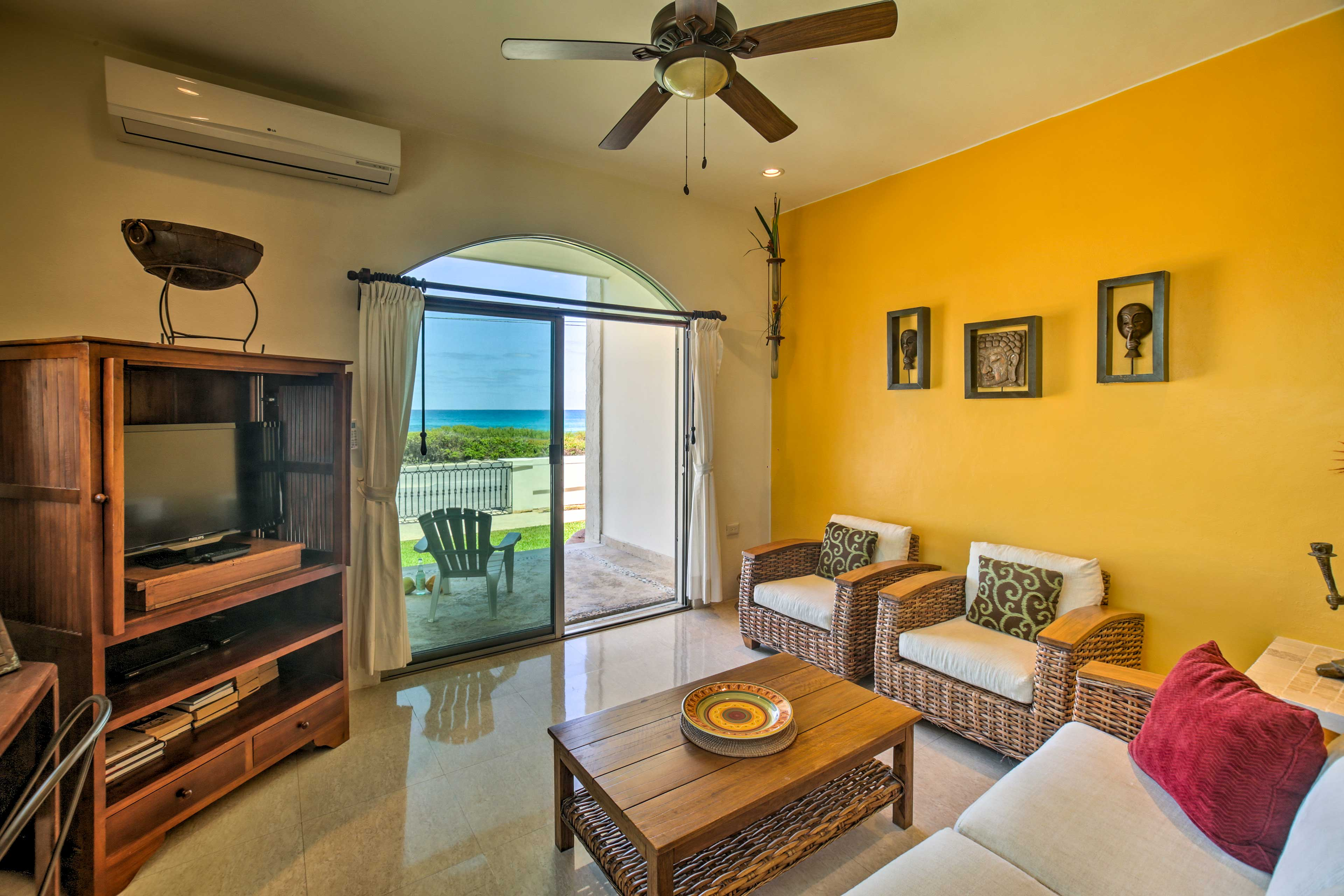 The interior of this casita is vibrantly painted.