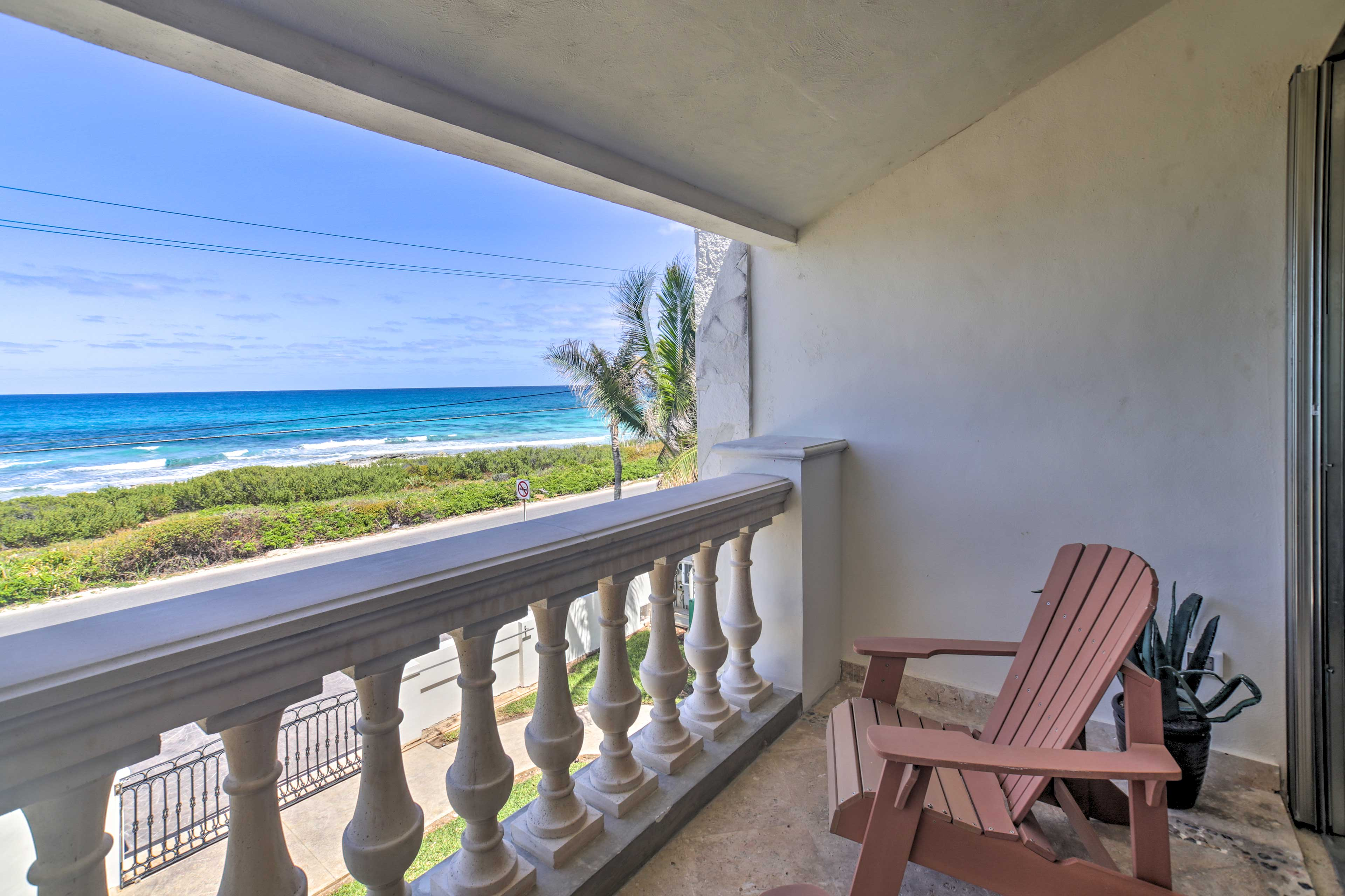 Read your favorite book on the balcony while listening to the ocean.