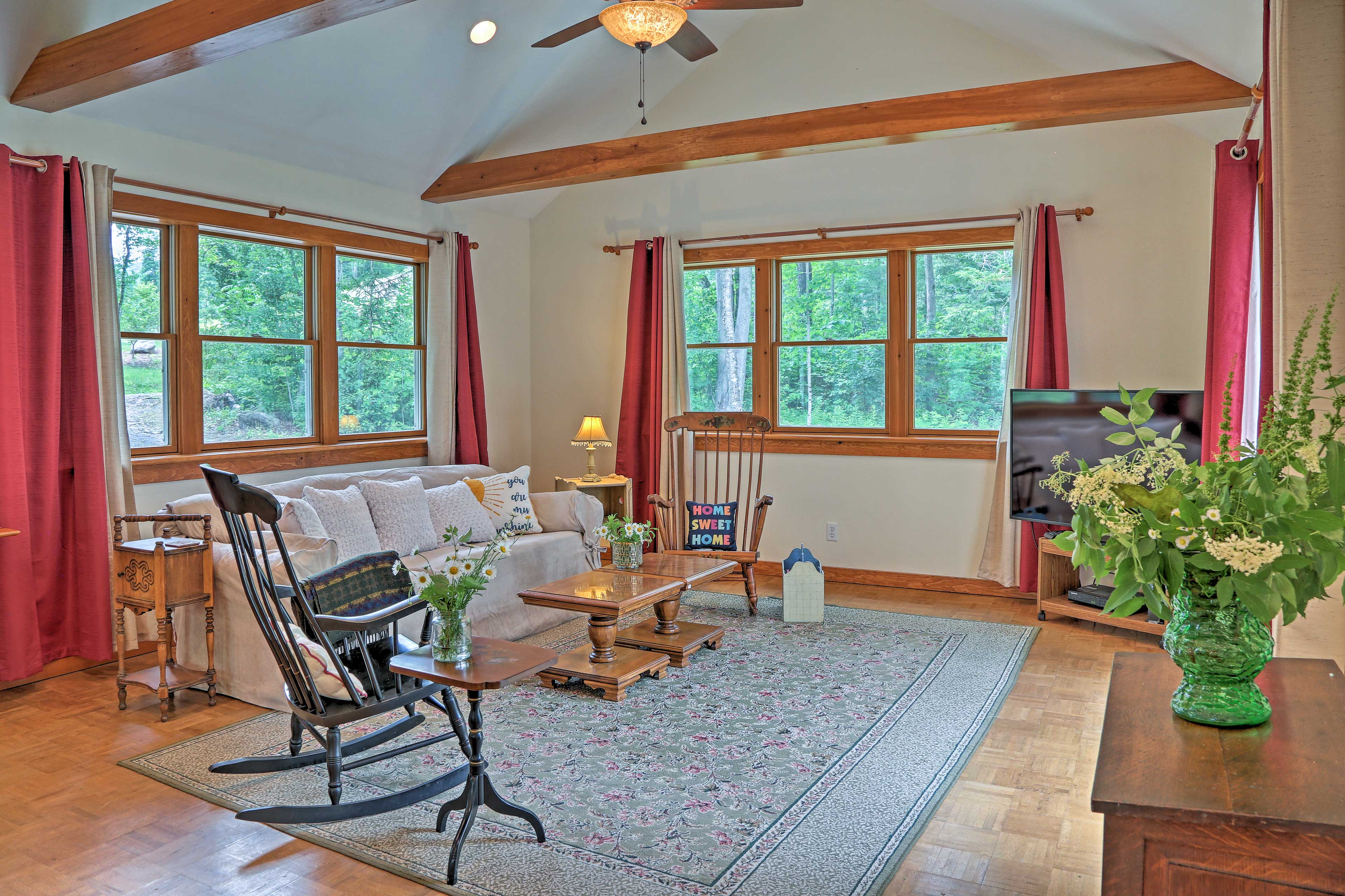 A wealth of windows let natural light pour into the home.