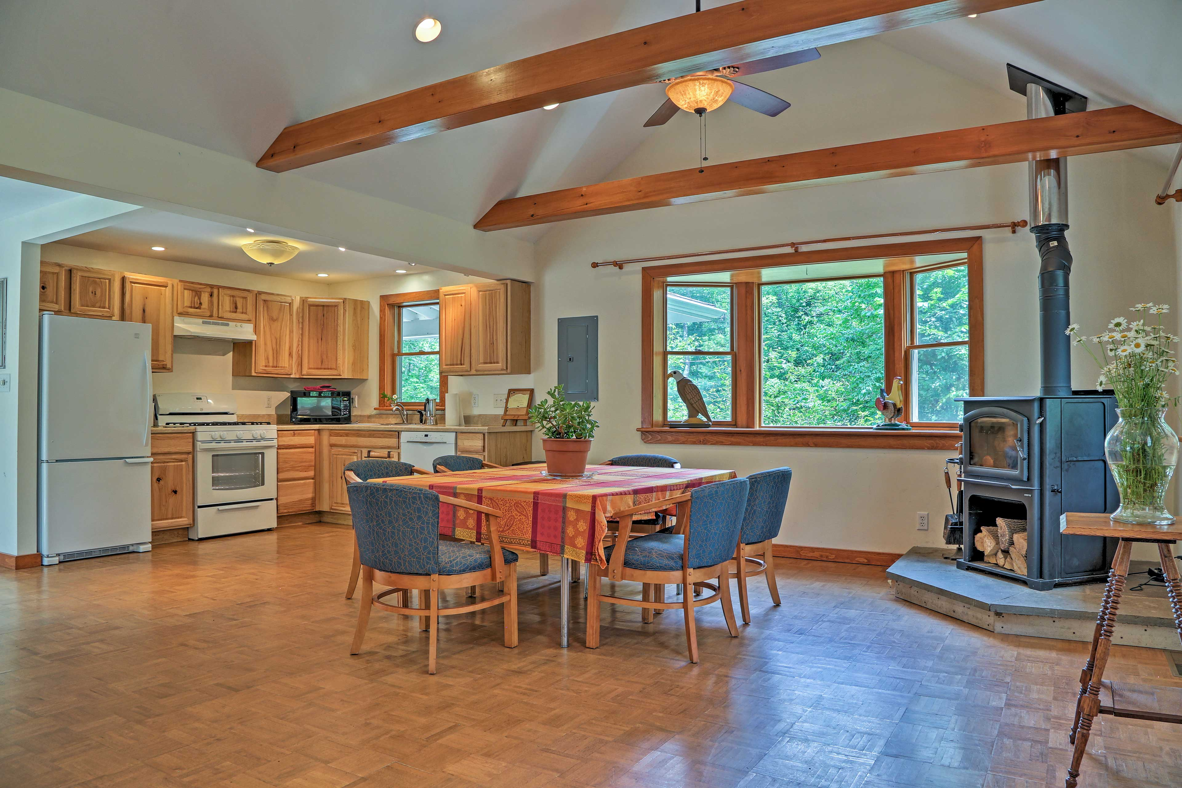 Dine at the 6-person table while the wood-burning stove warms the room.