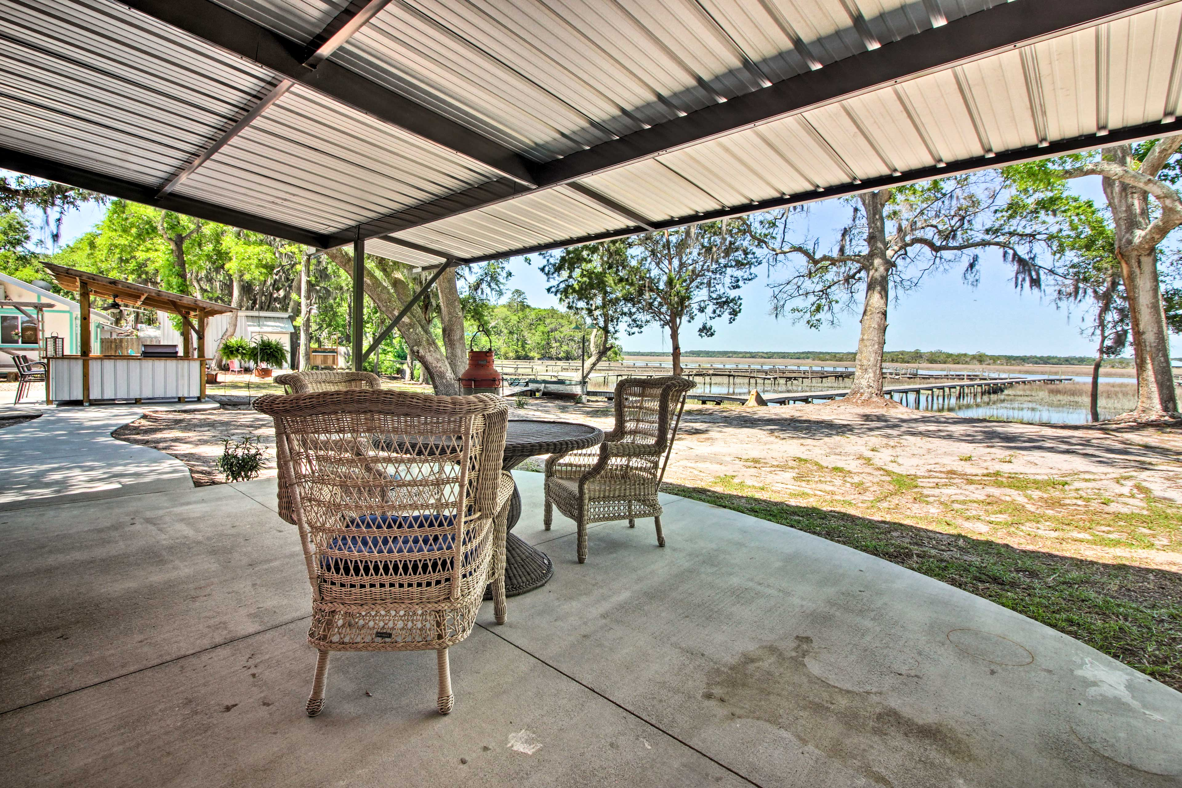 Contemplate your plans for the day on the comfortably furnished covered patio.