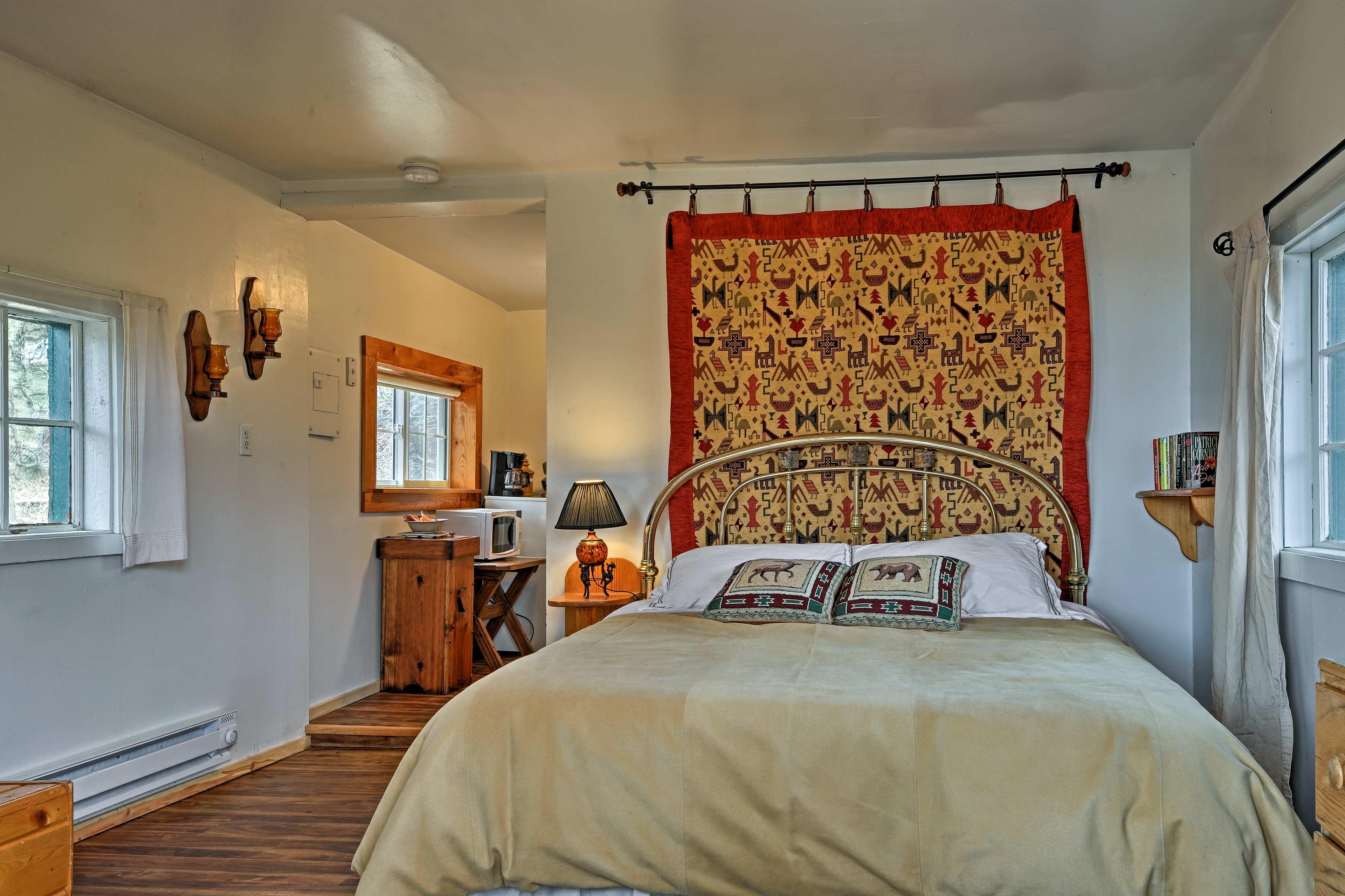 Nature-themed decor creates a rustic cabin feel.