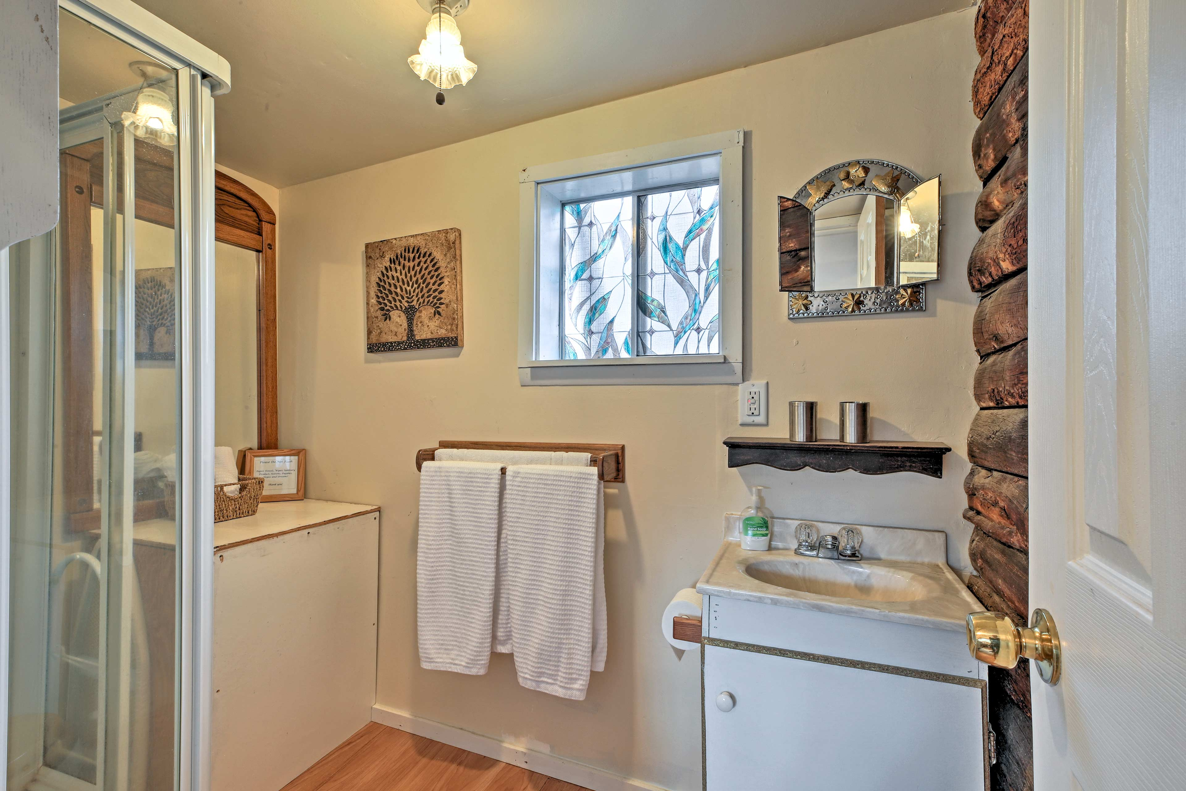 The bathroom offers plenty of space to get ready!