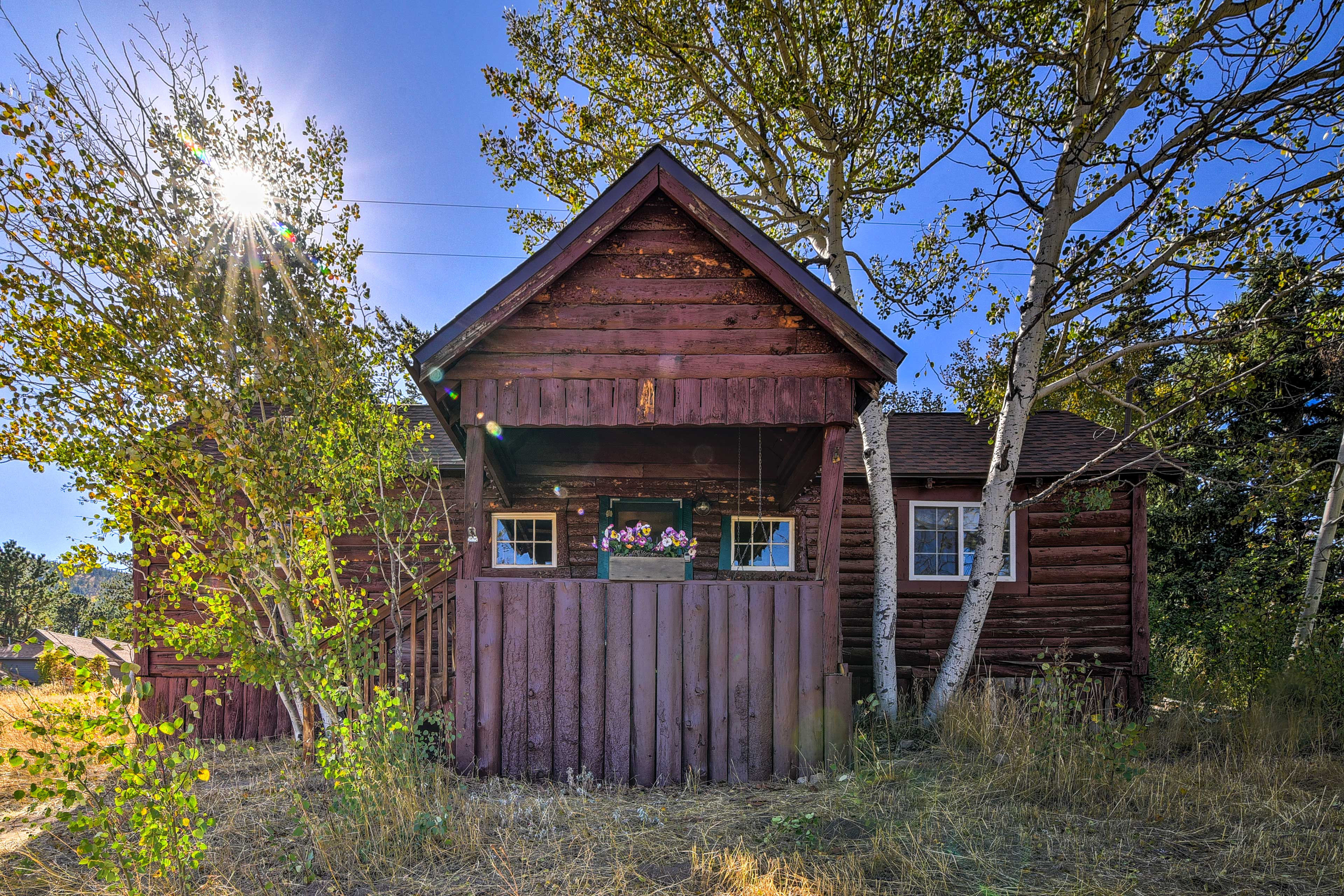 This cozy vacation rental cabin is located in Allenspark, CO.